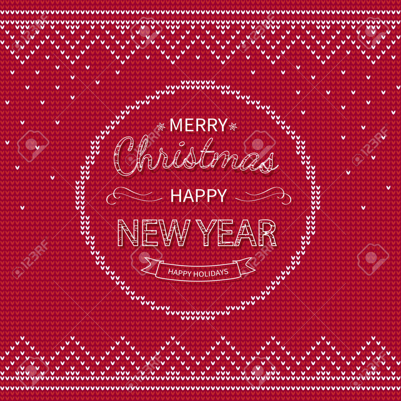 Merry Christmas and Happy New Year Greeting red knitted Background. - 155836506