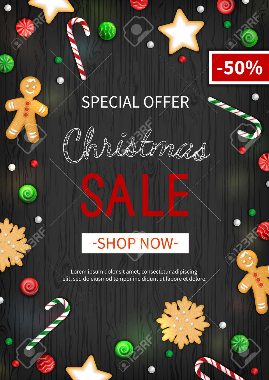 Special offer Christmas Sale. Vertical Discount flyer, big seasonal sale. Web banner with holiday sweets- lollipops, candy cane, cookies, gingerbread Man. Xmas Greeting Card on black wooden background - 155836501