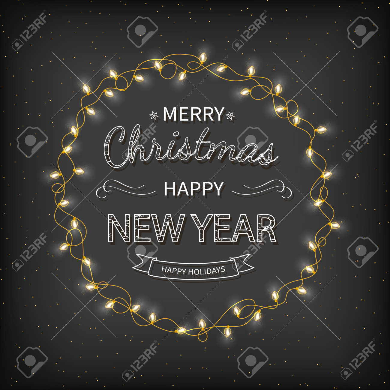 Merry Christmas and Happy New Year Greeting Background. Beautiful lettering with garlands, golden confetti tinsel on a black background. Xmas card Vector illustration - 155836507