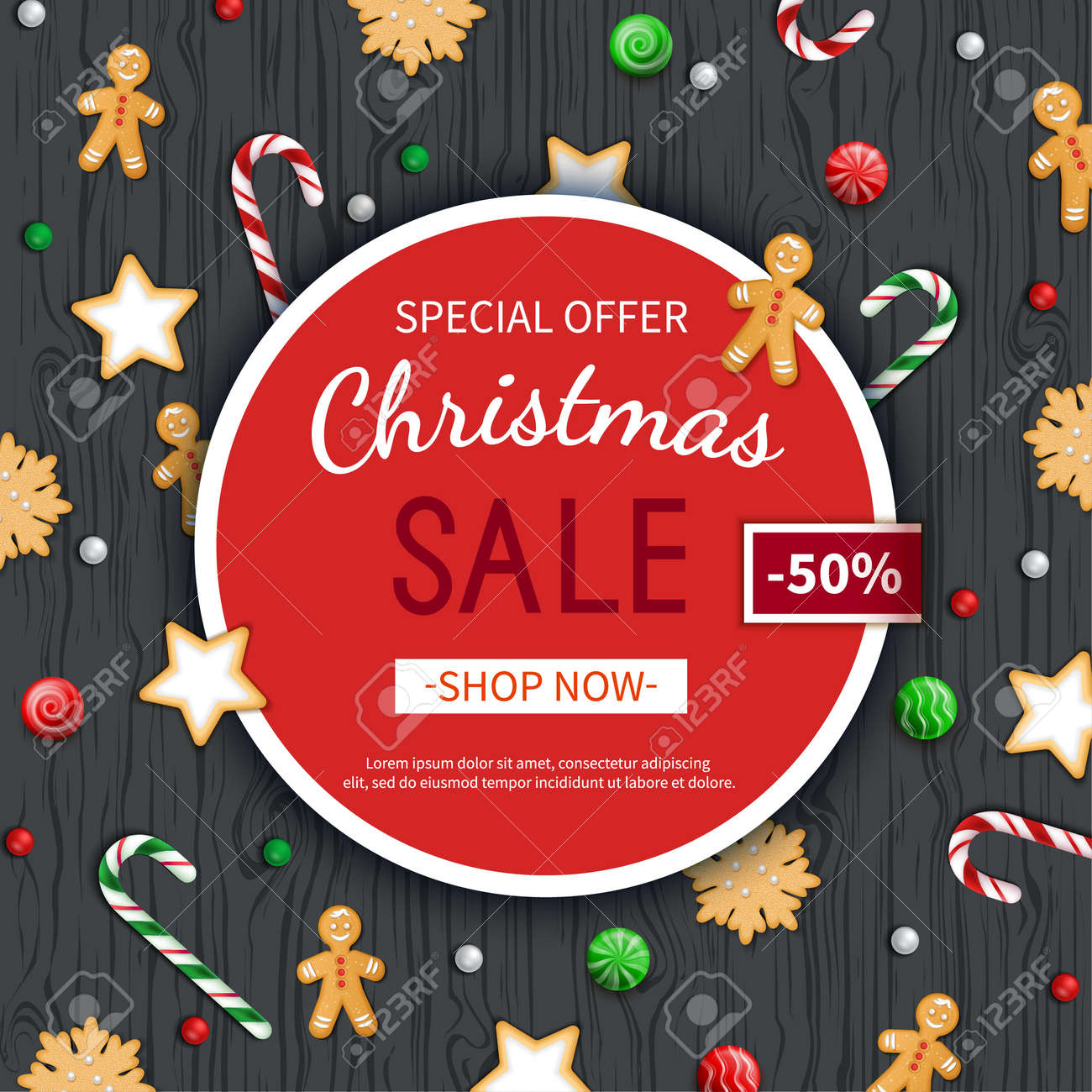 Christmas sale flyer template. Poster, card, label, background, banner on circle frame with sweets on a wooden black table. Special seasonal offer. Vector illustration. Top view - 156298018