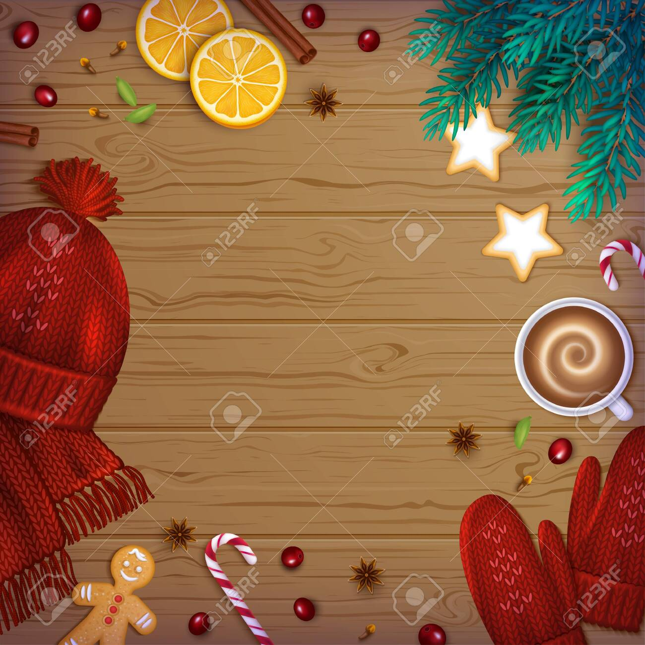 Merry Christmas and Happy New Year Greeting Background. Winter Elements fir branches, knitted red hat, mittens, cup of coffee, spice, sweets, berries, bakery on a wooden table. Top View. Vector - 156941405