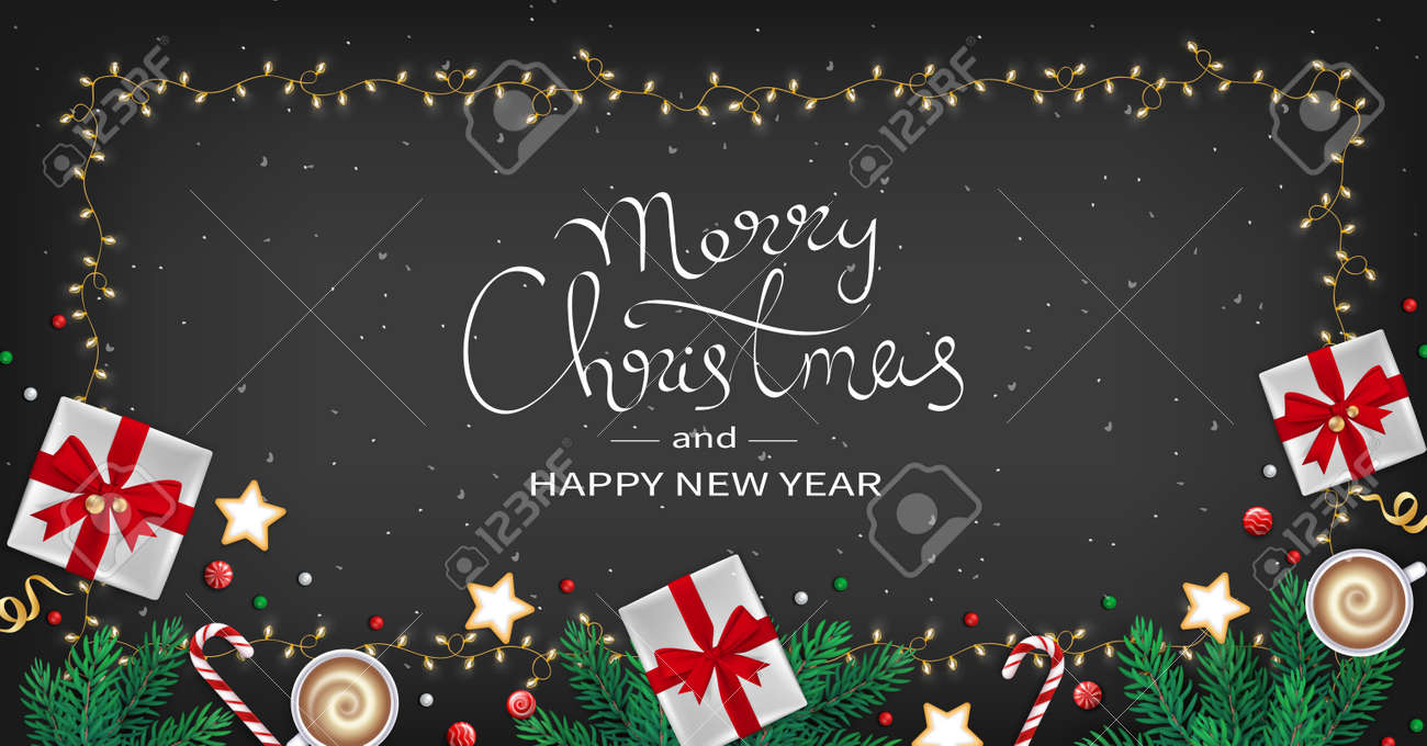 Merry Christmas and Happy New Year Greeting flyer. Winter Elements fir branches, paper gifts boxes, cup of coffee, cookies, sweets, ribbons in the frame of garlands. Black background.Top View. Vector - 159604043