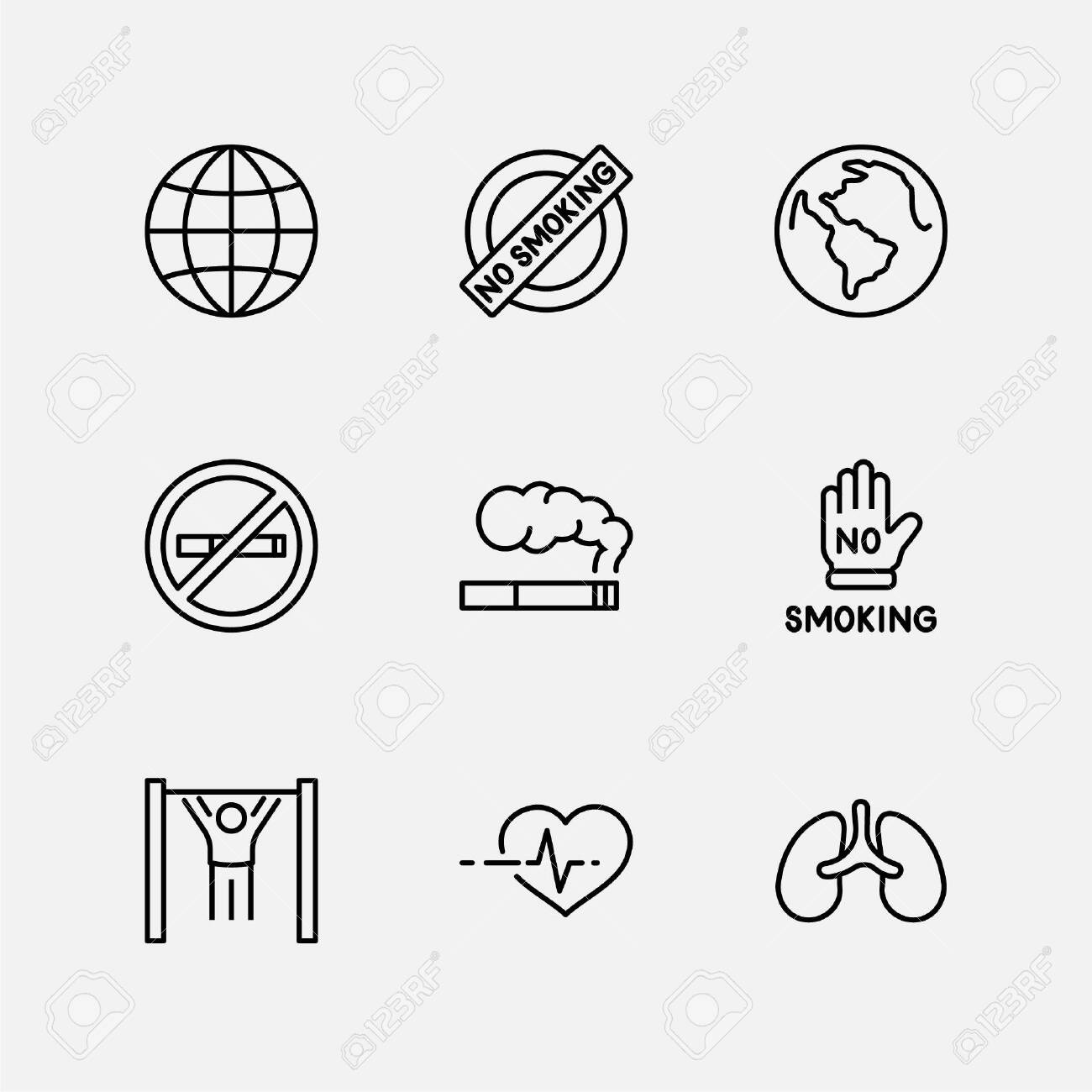 International No Tobacco Day Set Line Vector Icons. Contains such Icons as Lungs, Cigars, Cigarettes, Smoking, Globe, smoking Cessation and more. Editable Stroke 32x32 Pixels - 138793914