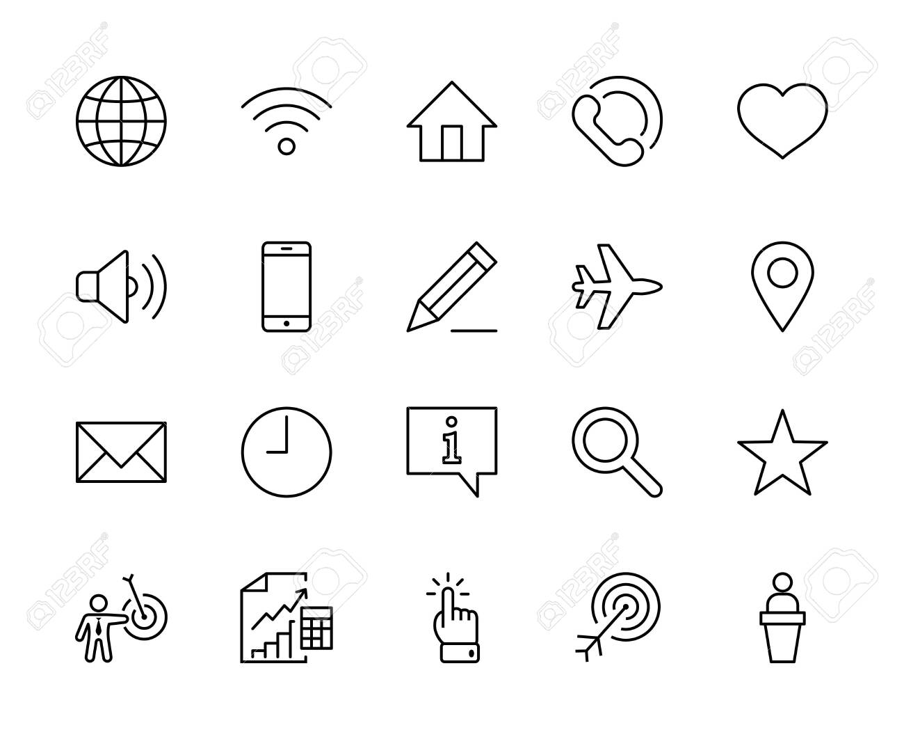 Set of Web Vector Line Icons. Contains such Icons as Globe, Wi-fi, Home, Heart, Phone, Pencil, Time Clock, Star and more. Editable Stroke. 32x32 Pixels - 139458071