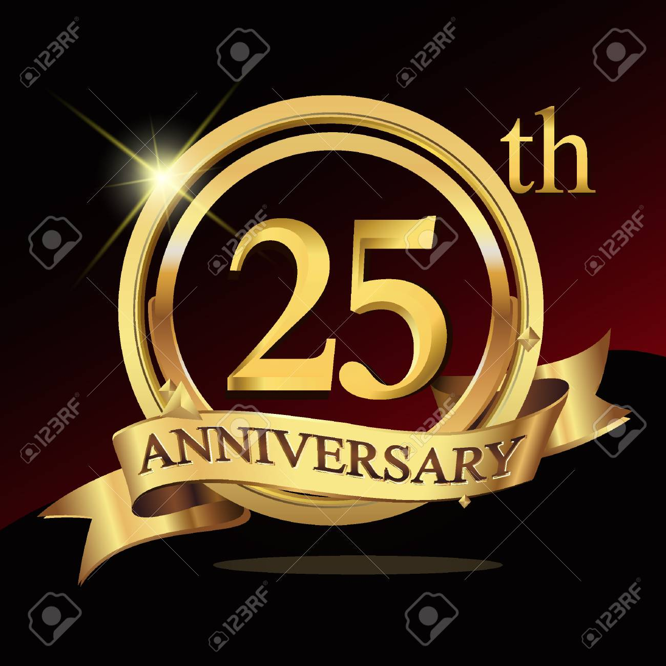 25th years golden anniversary logo celebration with ring and rh 123rf com Silver 25th Anniversary Ribbons 25th Anniversary Quotes