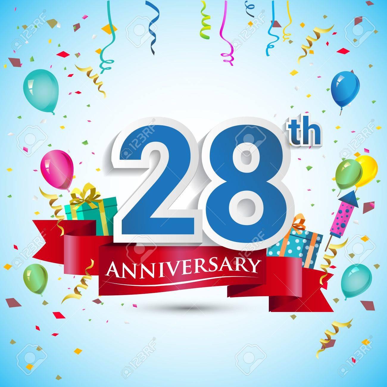 934298781 Diseño De Celebración De Aniversario De 28 Años