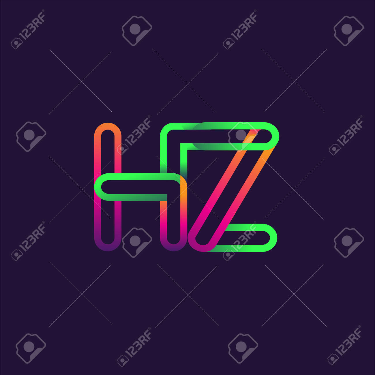 initial logo letter HZ, linked outline rounded logo, colorful initial logo for business name and company identity. - 150656616