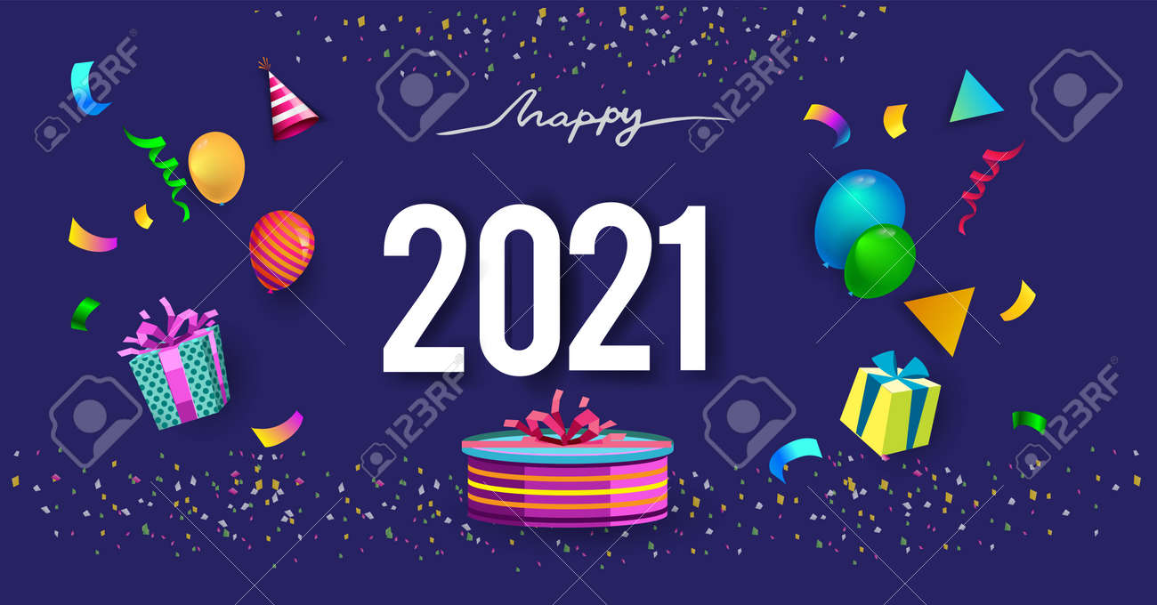 Happy new year 2021 typography vector design for greeting cards and poster with balloon, confetti, design - 156113919