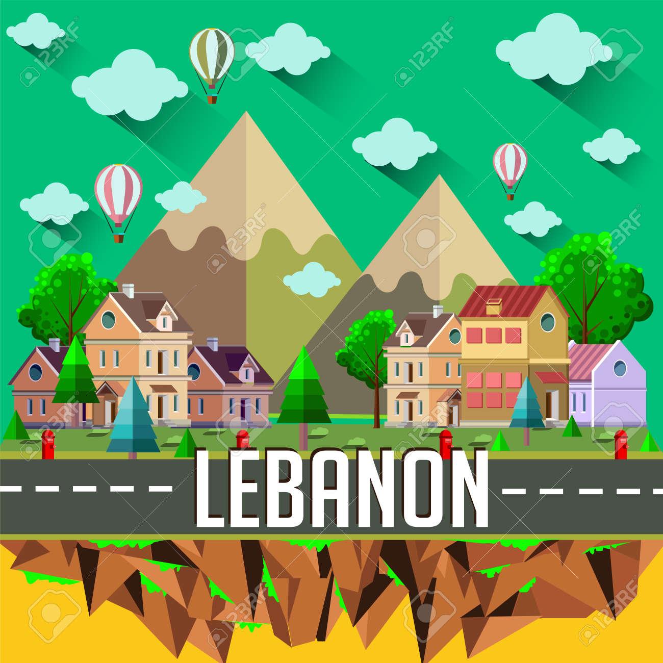 Lebanon - Flat design city vector illustration - 159160077