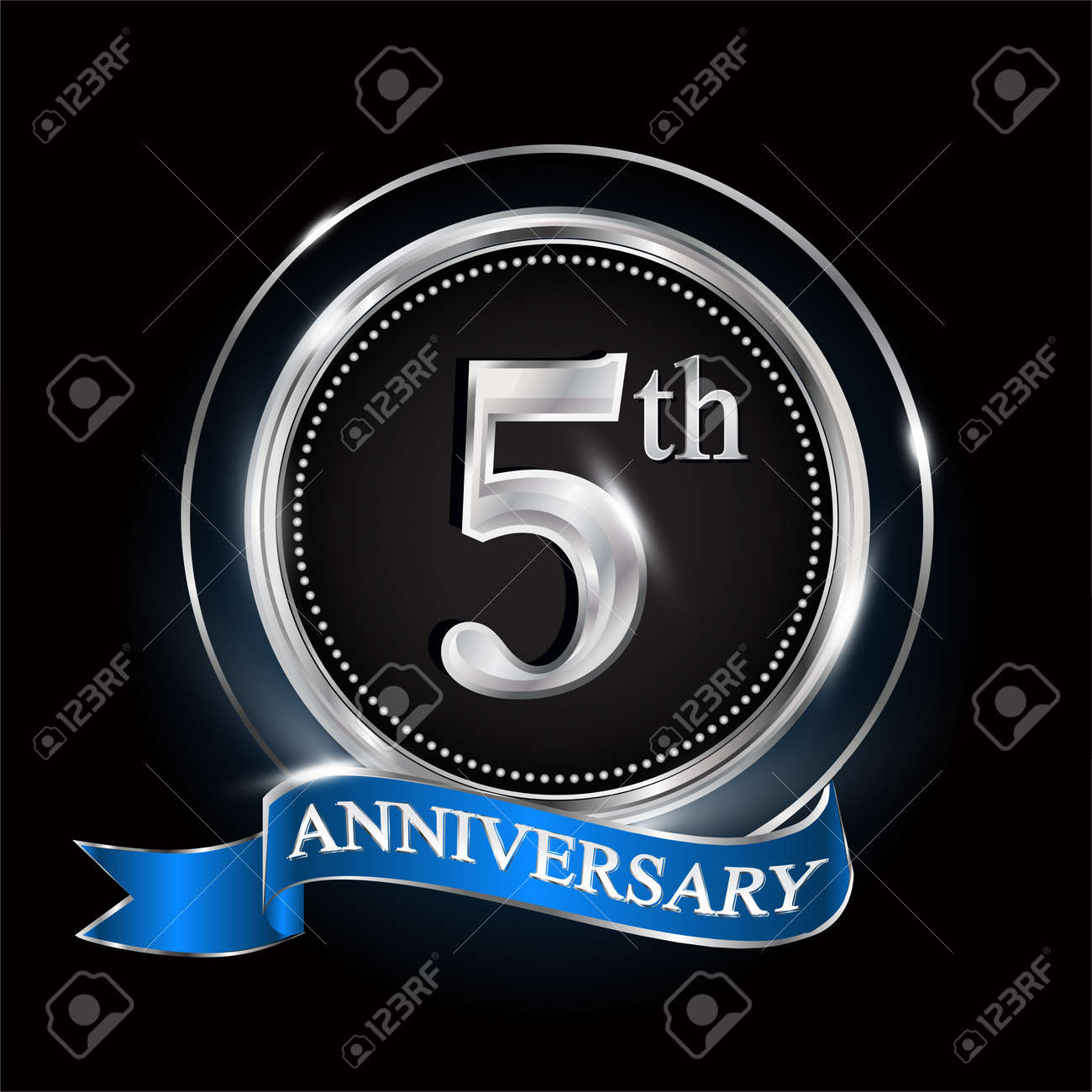5th anniversary logo with silver ring and blue ribbon. - 159299017