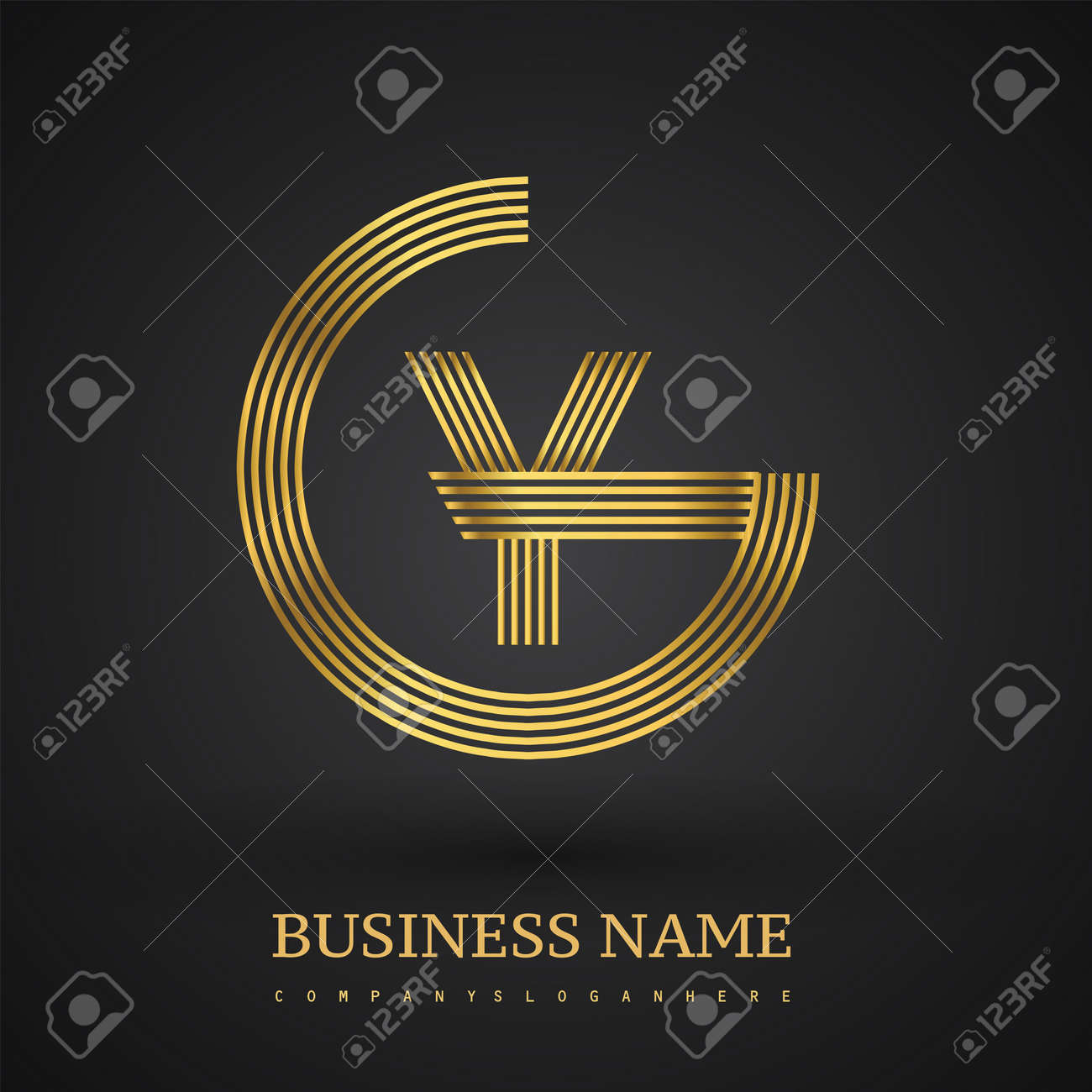Letter GY linked logo design circle G shape. Elegant golden colored, symbol for your business name or company identity. - 159300078