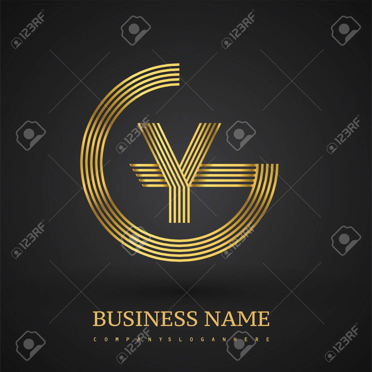 Letter GY linked logo design circle G shape. Elegant golden colored, symbol for your business name or company identity. - 159300178
