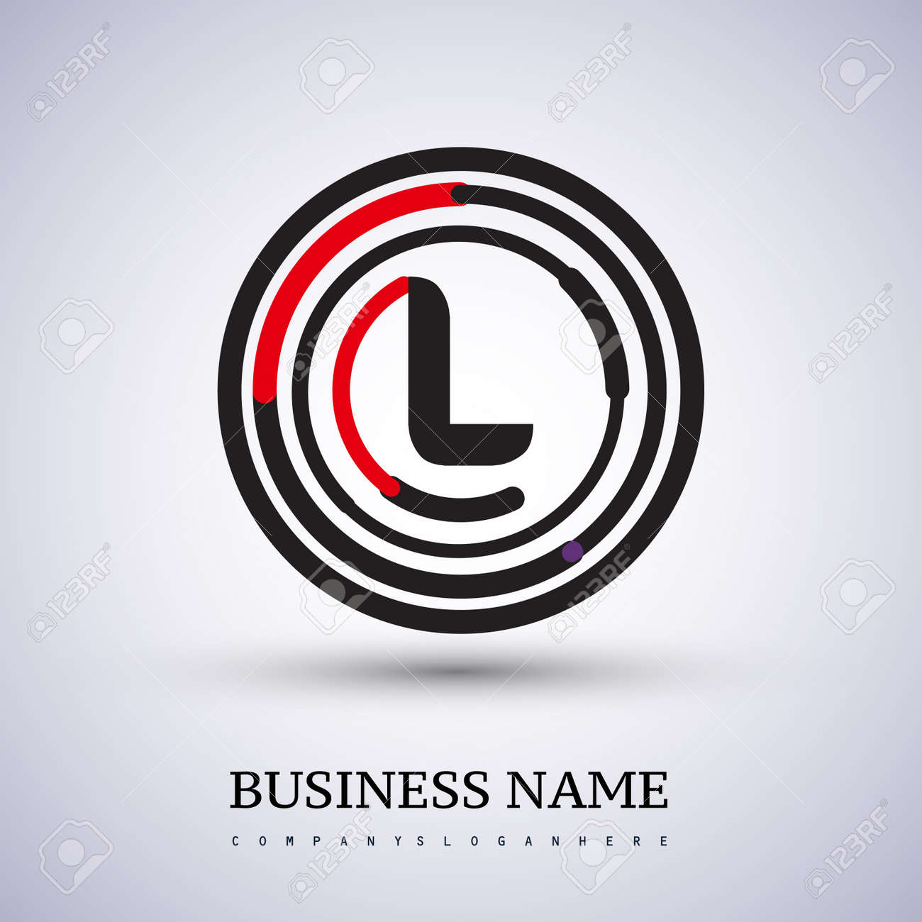 Letter L vector logo symbol in the circle thin line colored black and red. Design for your business or company identity. - 159345335