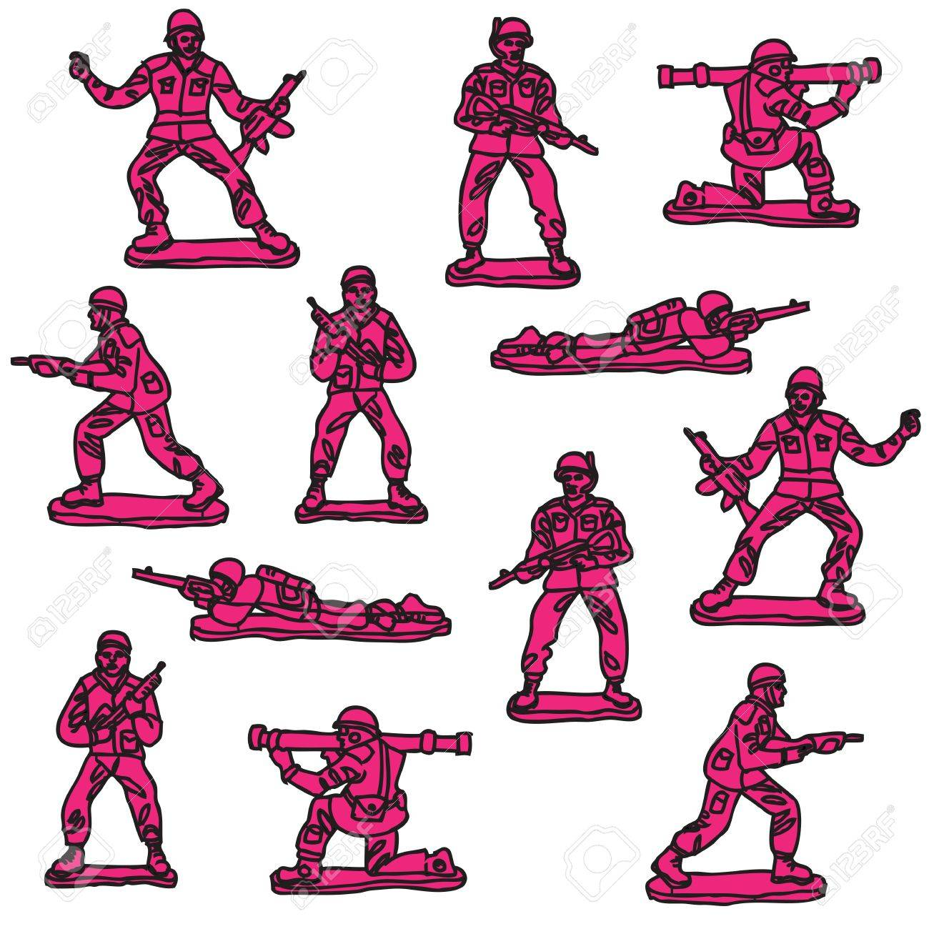 Pink toy soldiers seamless pattern Stock Vector - 13551265