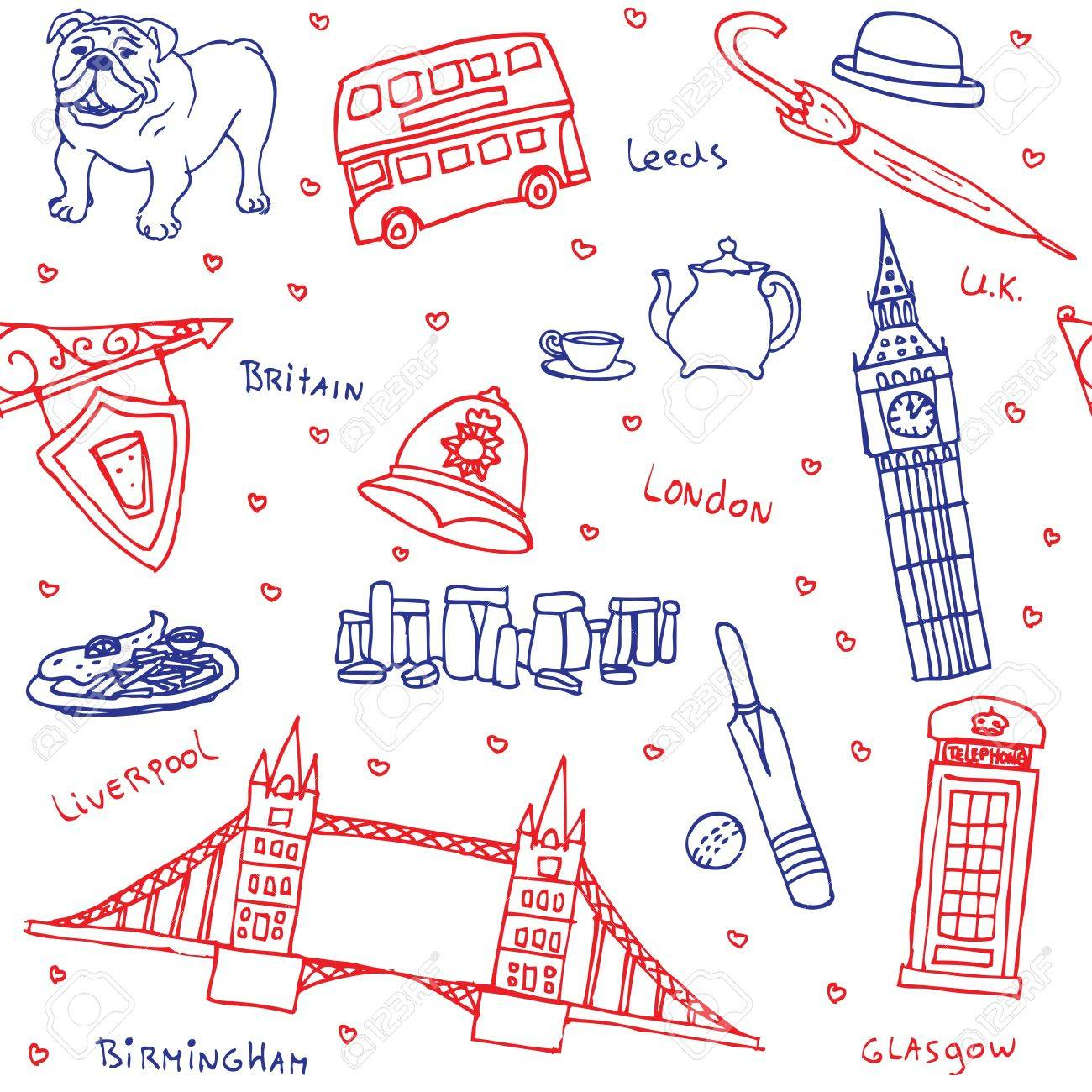 British symbols and icons seamless pattern Stock Vector - 13551259