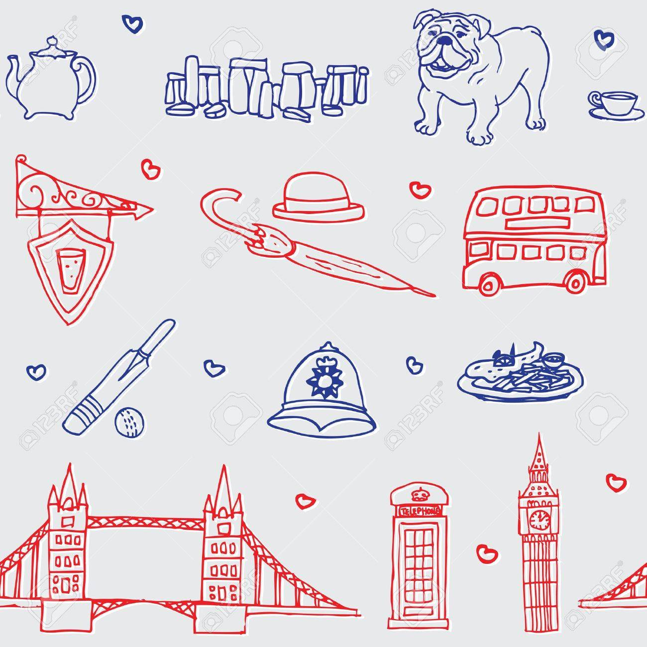 British symbol icon seamless pattern Stock Vector - 13703944