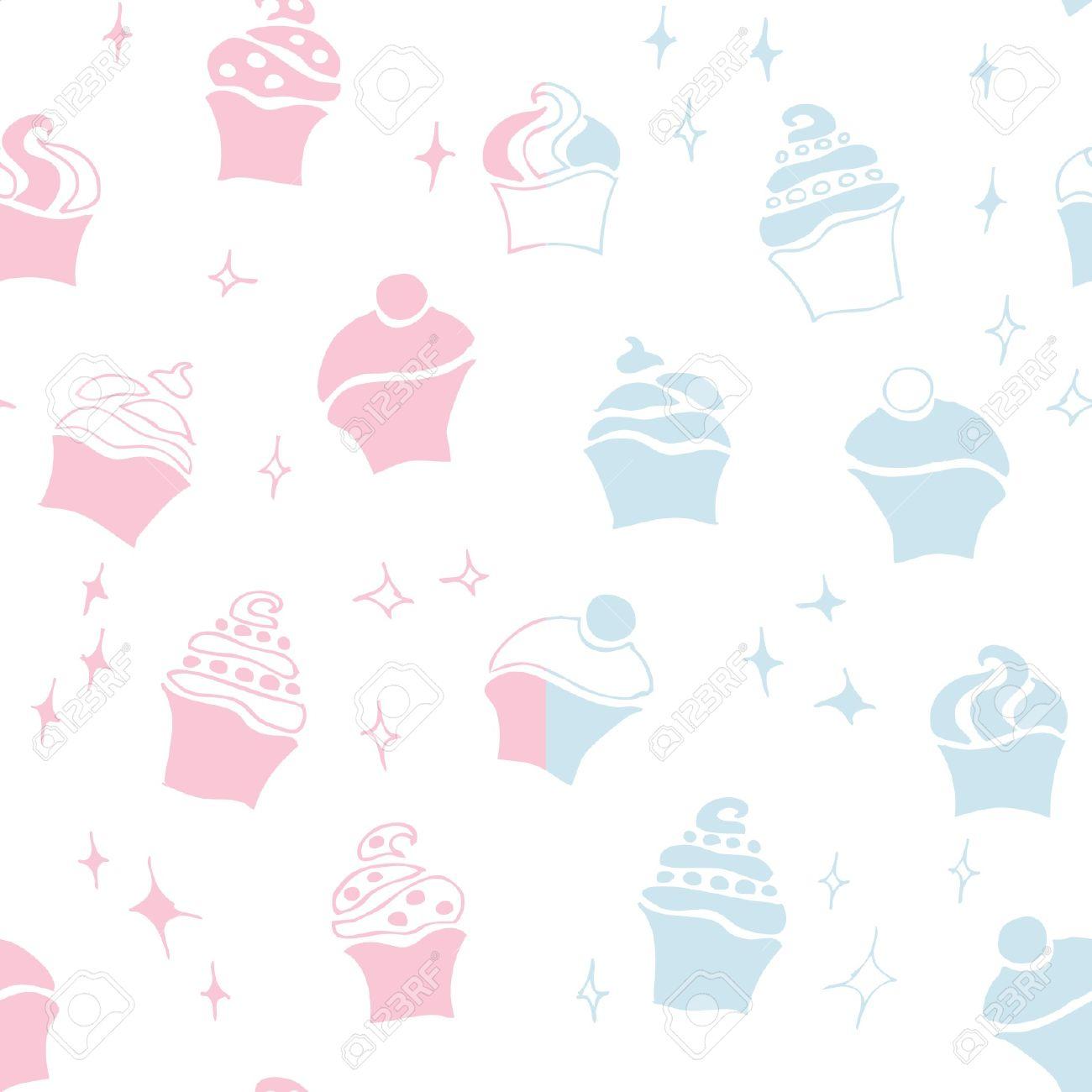 Seamless Retro Fifties Baby Boy Girl Cupcake Pattern Stock Vector