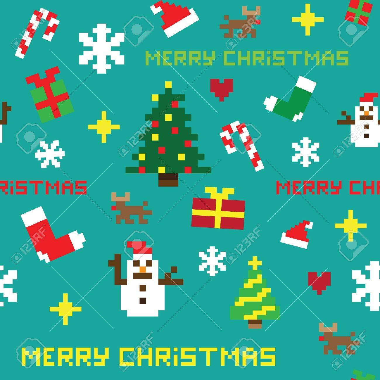 Seamless Retro Pixel Game Christmas Pattern Vector Royalty Free ...