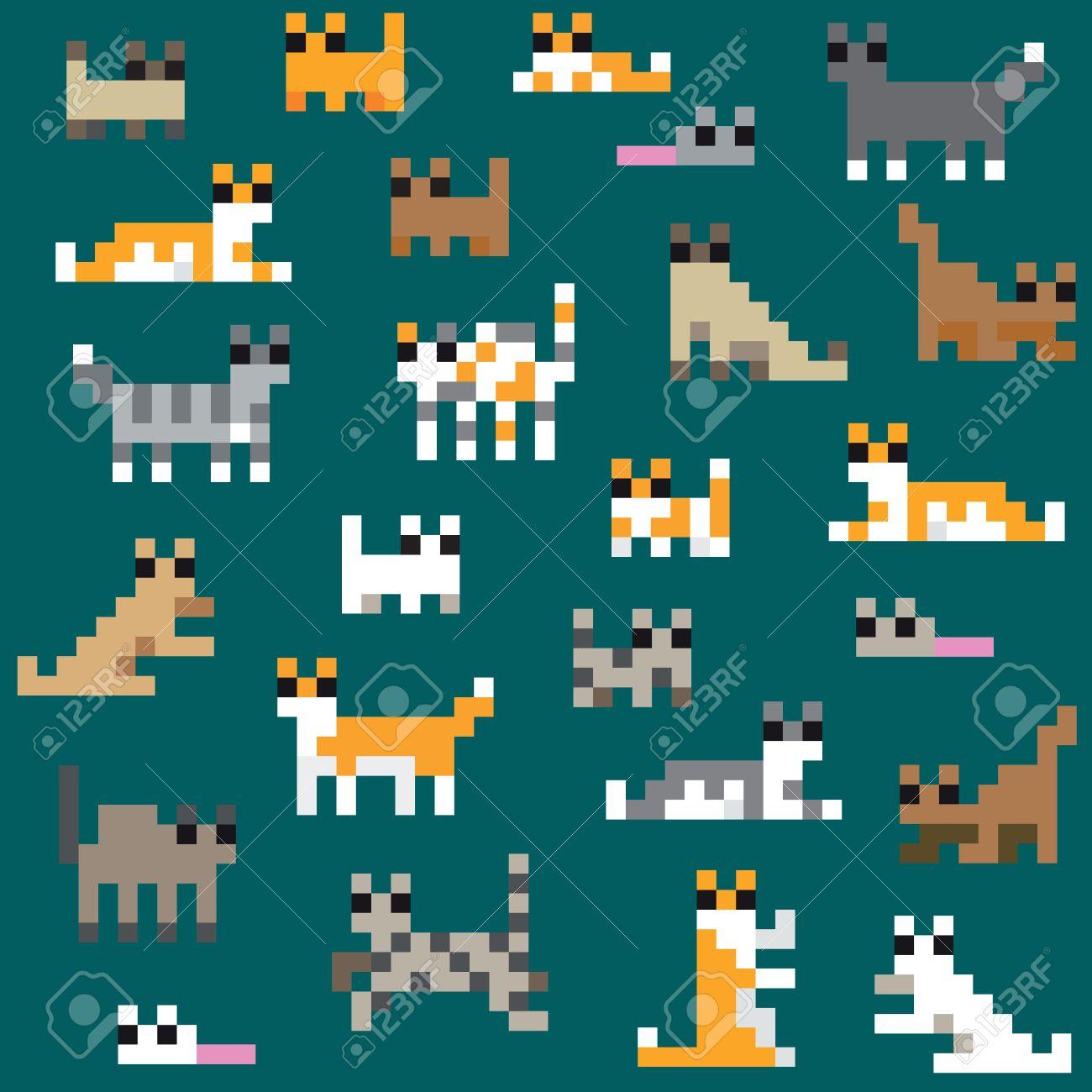 Modèle De Chat De Pixels Rétro Seamless
