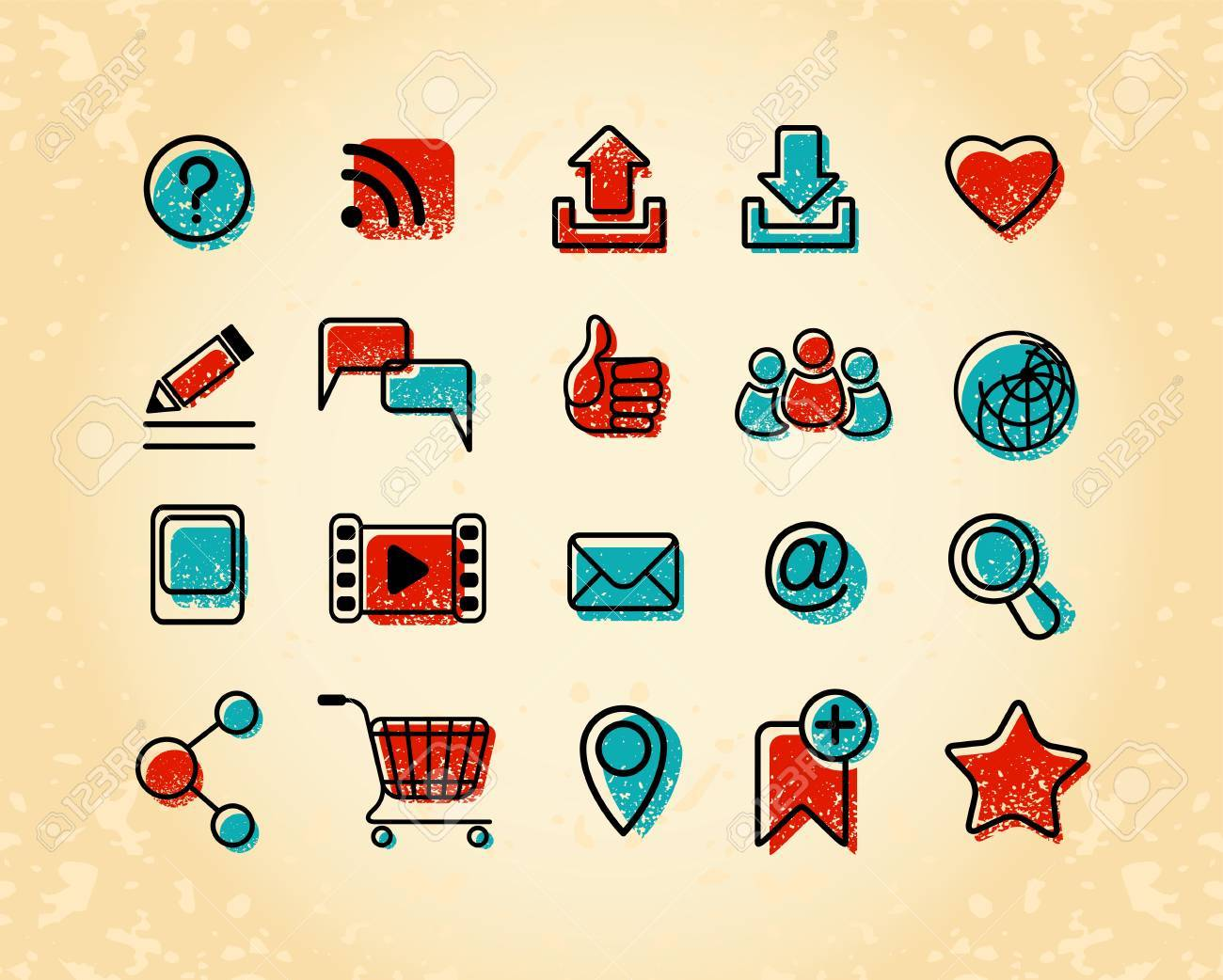 Set of 20 Internet communication icons in retro and grunge style Stock Vector - 20271809