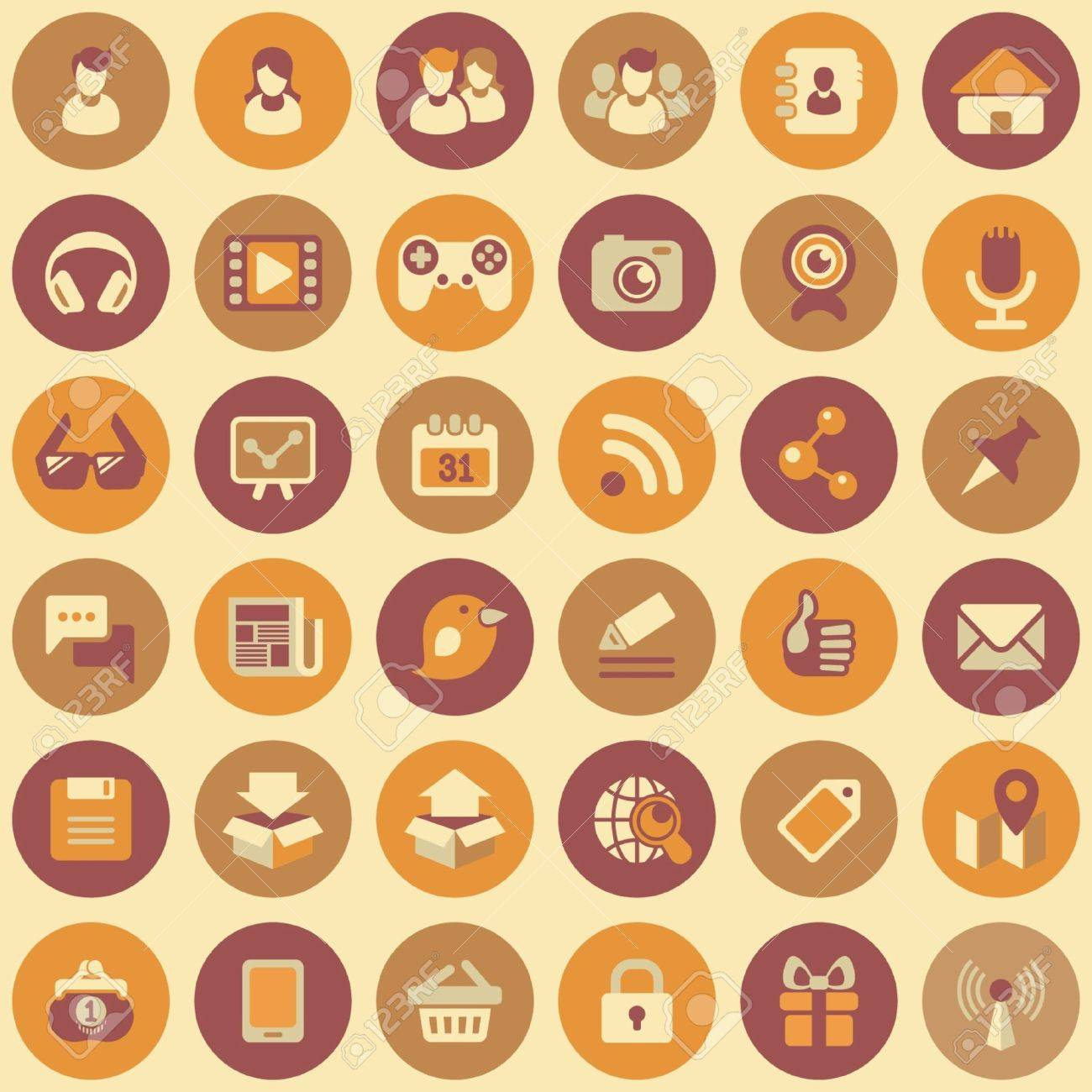 Set of 36 round flat web icons of social networking and multimedia  in retro colors Stock Vector - 21999530