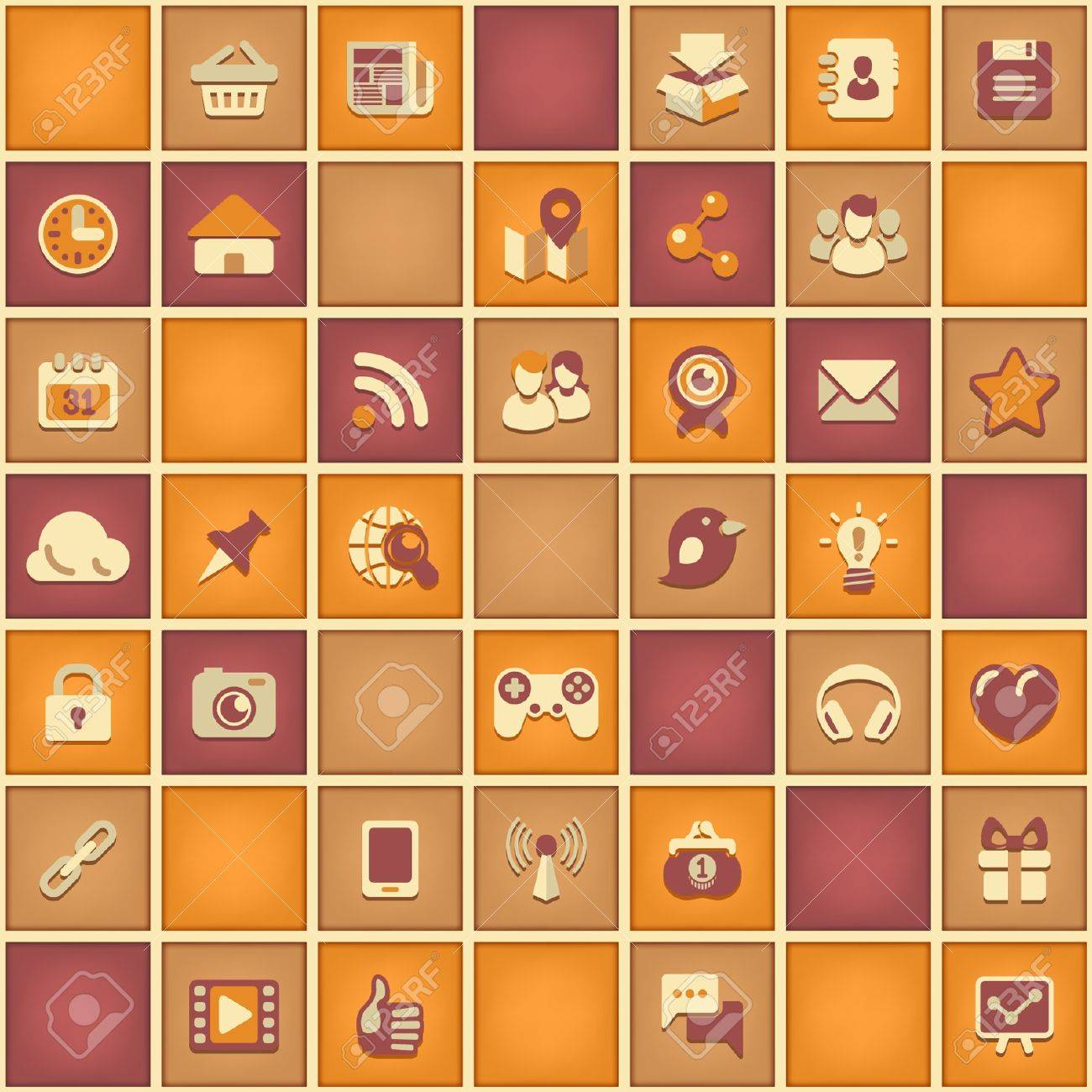 Seamless square pattern of social networking signs in bright retro colors Stock Vector - 21999533