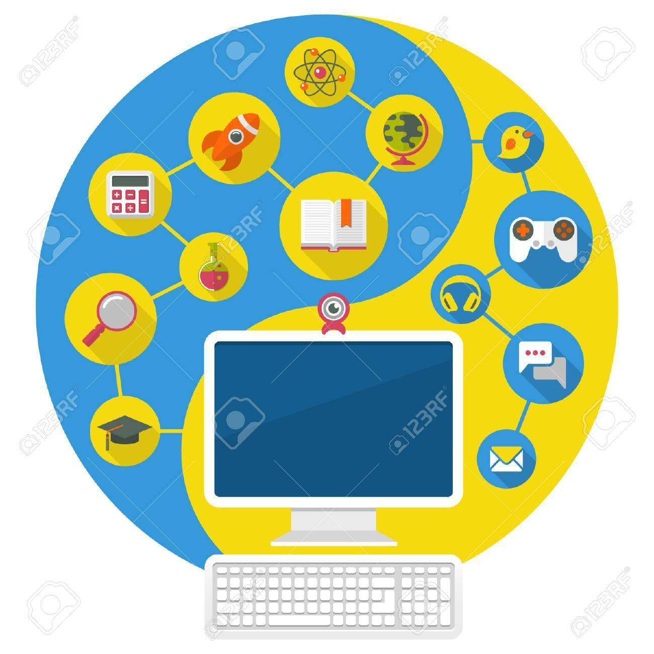 Conceptual illustration of a computer for education and spare time of the modern child Stock Vector - 23103585