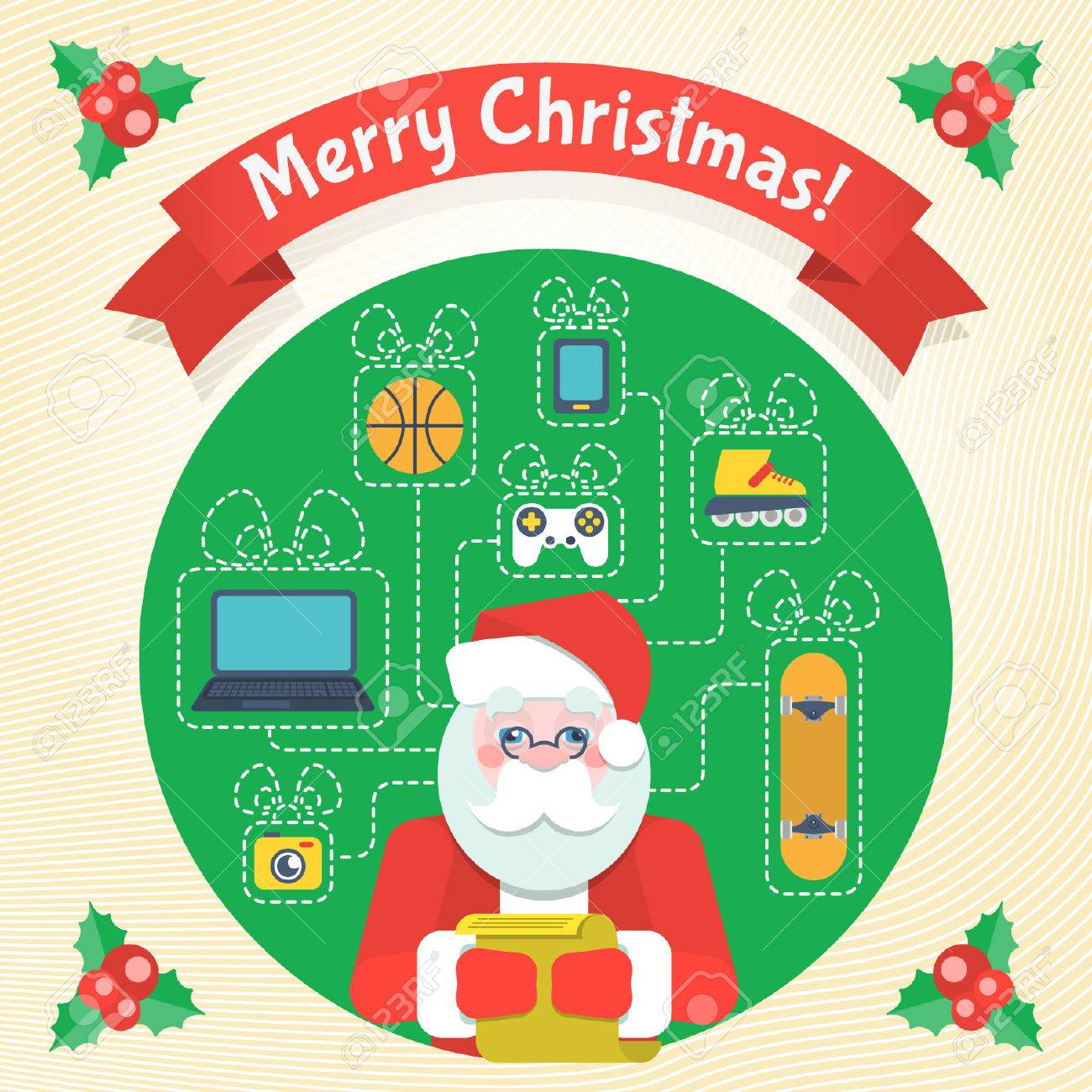 Christmas Card With Santa Claus And A List Of Wishes And Gifts ...