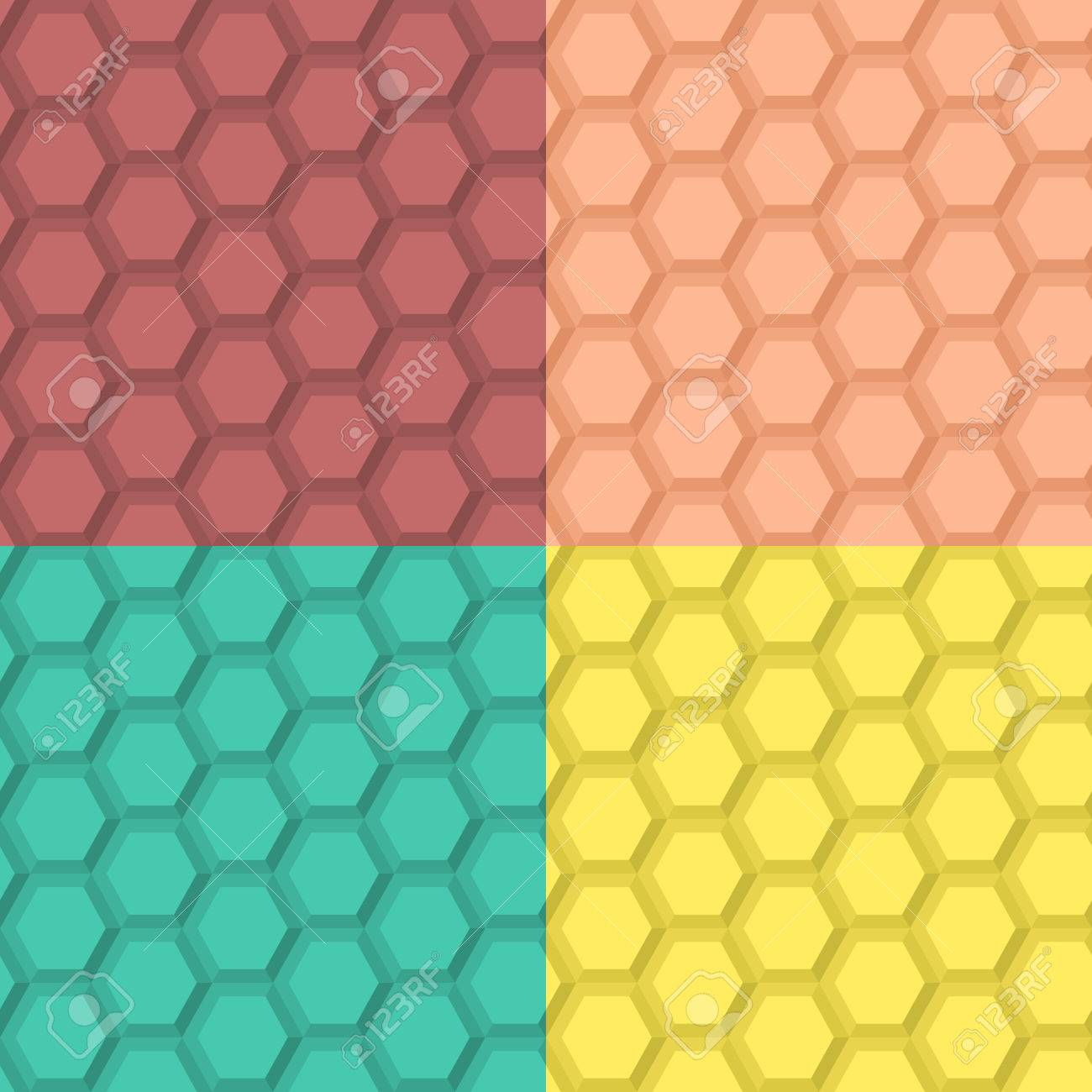 Flat Seamless Hexagonal Pattern In Four Color Combinations Stock Vector