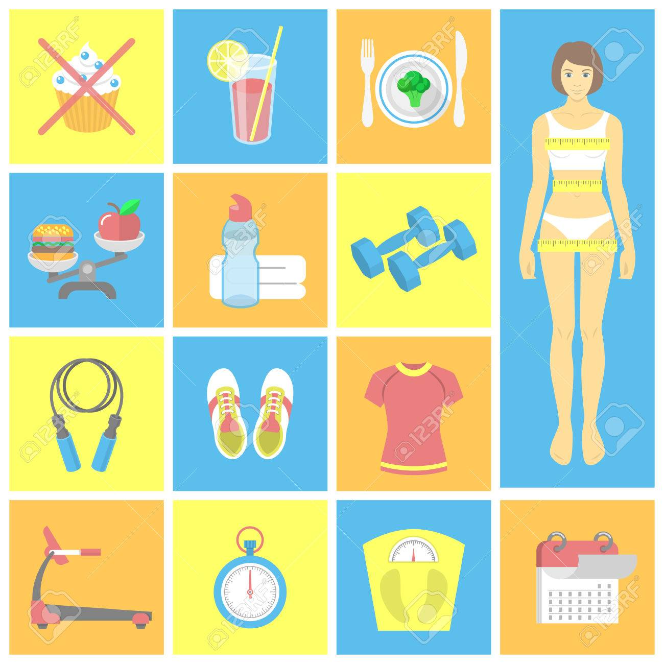 Set of flat icons for female fitness Vector symbols for weight
