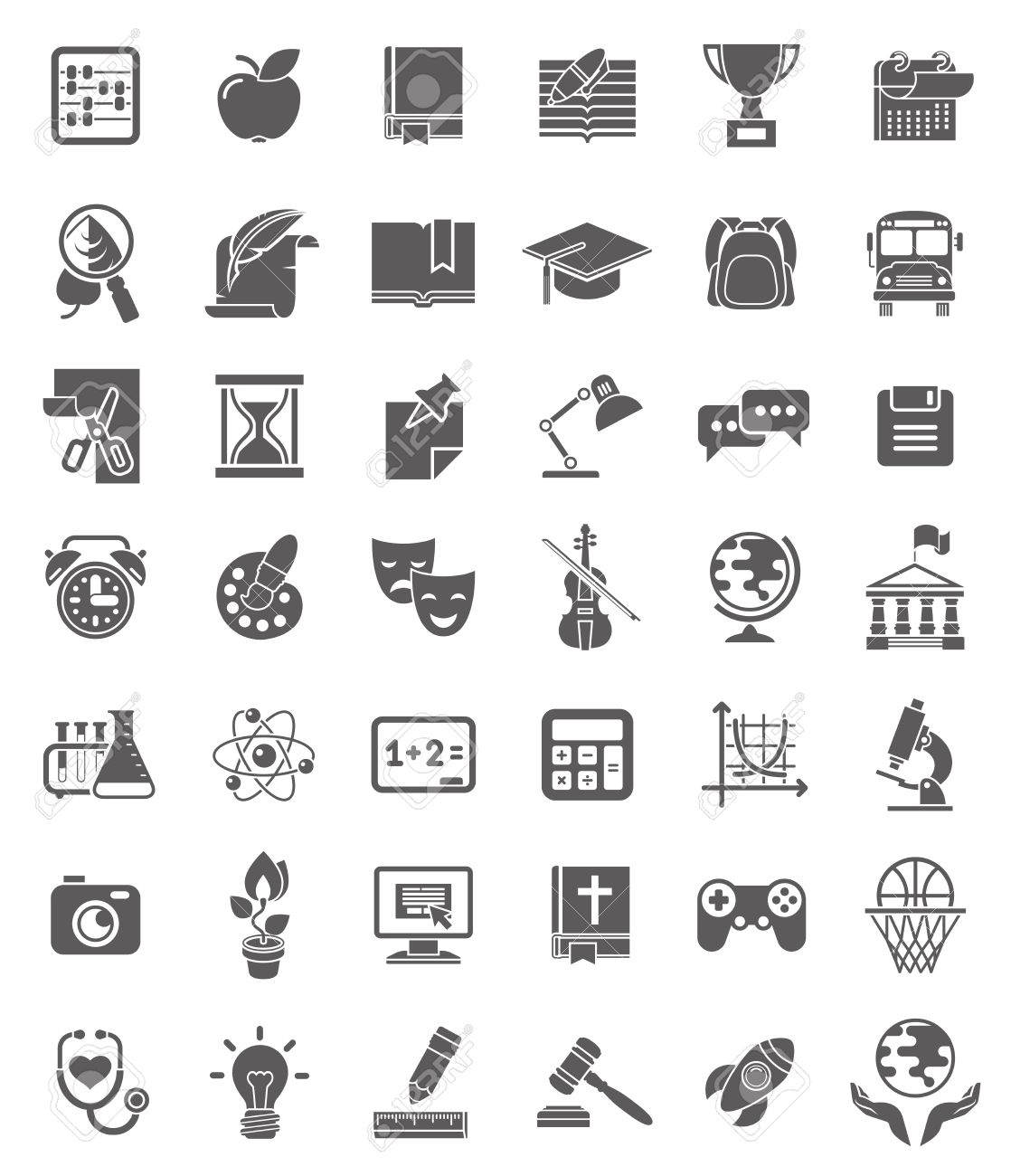 Set Of Dark Silhouette Icons Of School Subjects Educational
