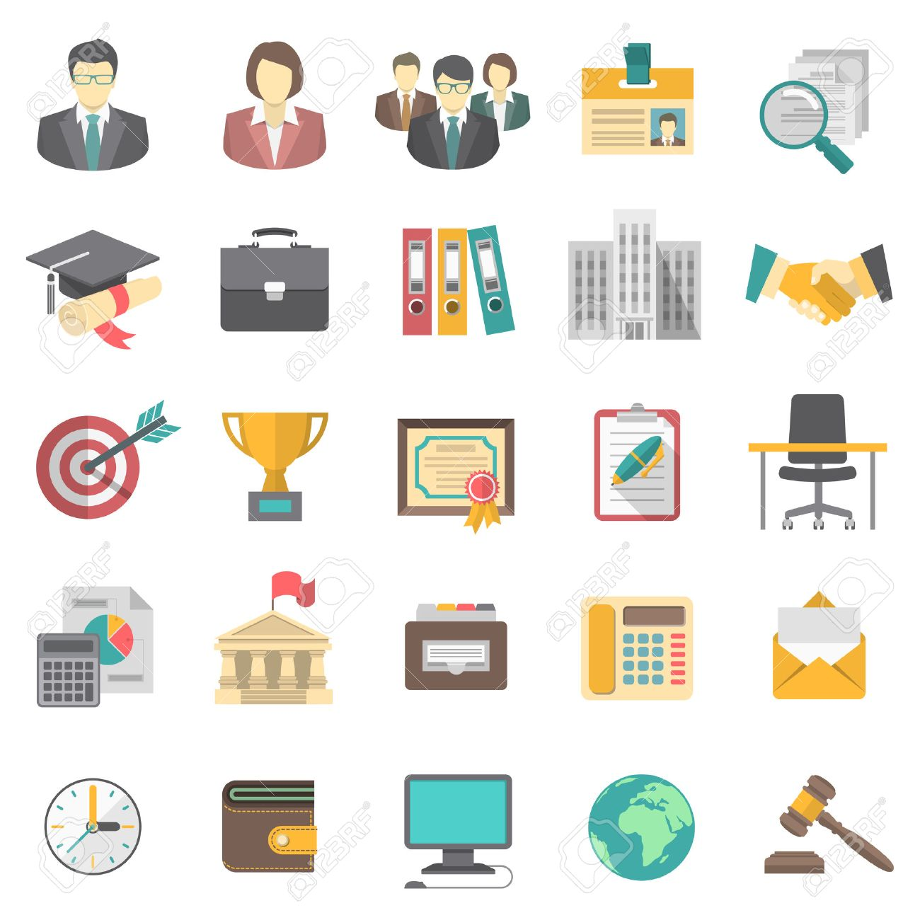 modern flat icons for business resume and the searching of human
