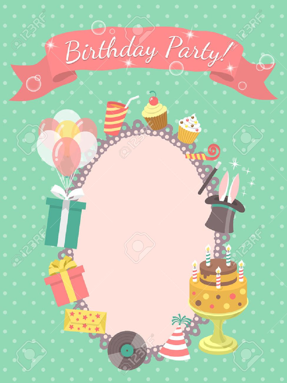 Modern flat birthday party invitation card with birthday symbols imagens modern flat birthday party invitation card with birthday symbols such as gifts balloons birthday cake with candles with inscription on a stopboris Image collections