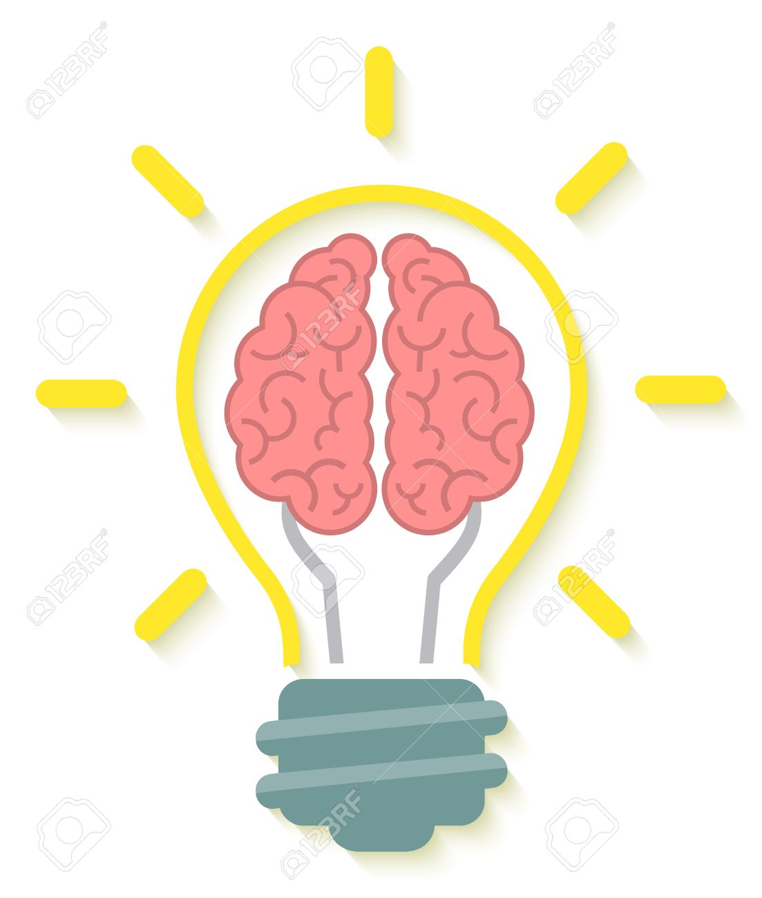 Conceptual Flat Icon Of Brain And Idea In The Form Of Light Bulb With Soft  Shadow Great Ideas