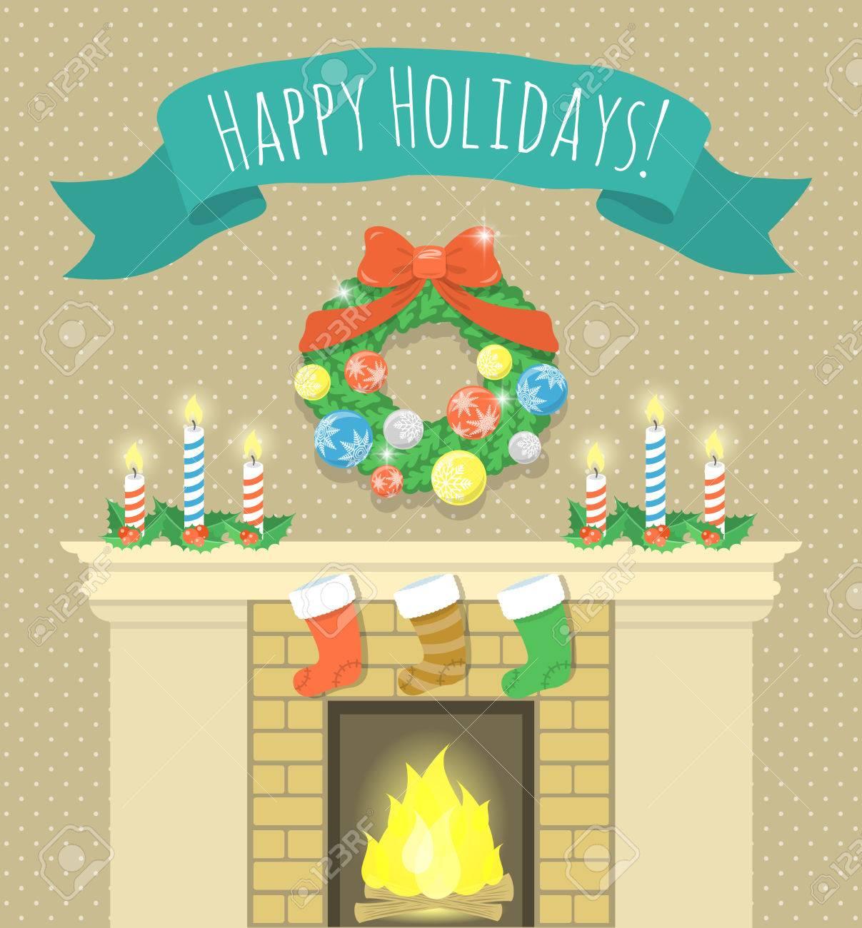Dibujos Chimeneas De Navidad.Vector De Dibujos Animados Ilustracion Vacaciones De Navidad Chimenea Con Velas El Fuego Quema Calcetines Para Los Regalos Corona De Navidad Y La