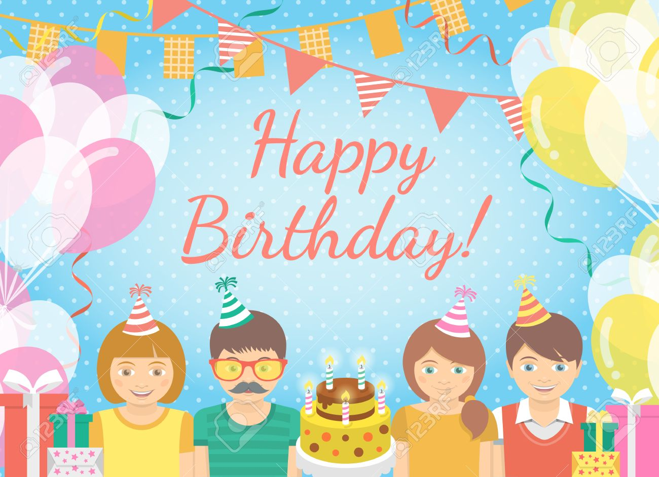Modern flat colorful vector birthday party background with group of birthday greeting or invitation card modern flat colorful vector birthday party background with group of kids in festive caps and balloons stopboris Gallery