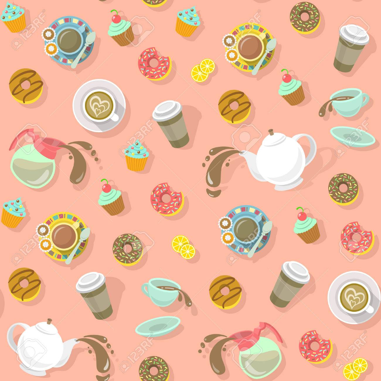 Colorful Flat Seamless Vector Pattern With Cups Of Coffee And Tea Cappuccino Pot