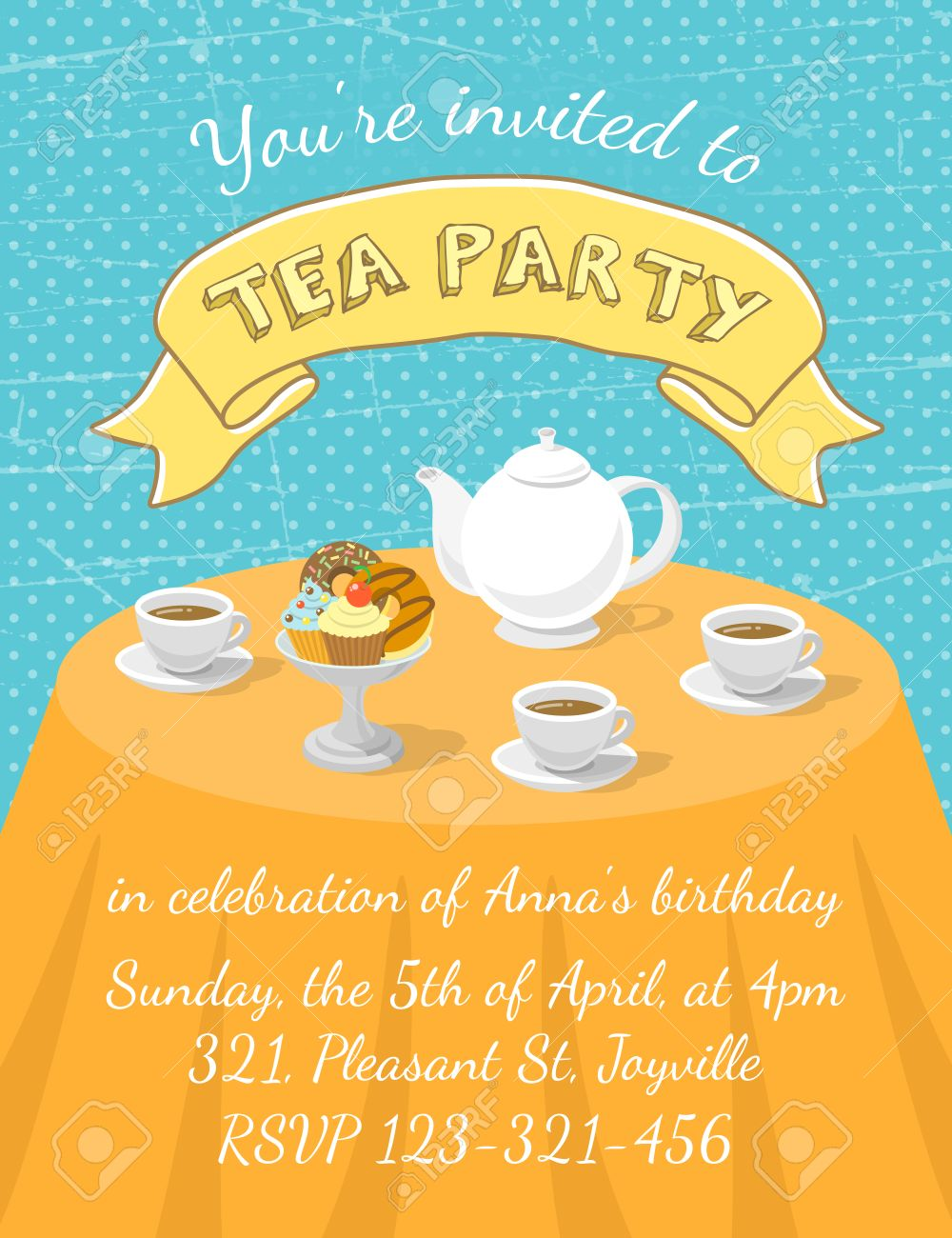 Elegant tea party invitation template with teacups cartoon vector - Modern Flat Vector Tea Party Invitation Card With Tea Cups Teapot And Dessert On The