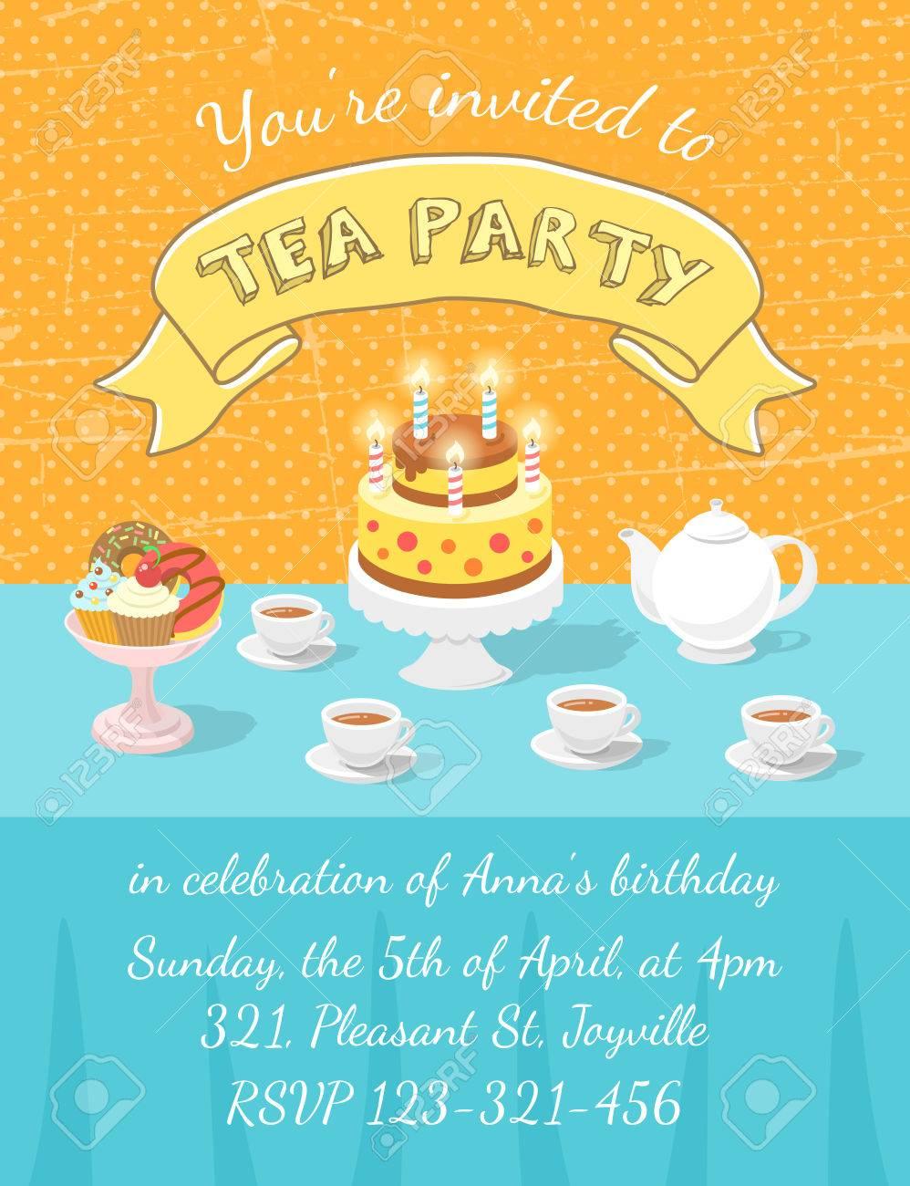 Elegant tea party invitation template with teacups cartoon vector - Modern Flat Vector Tea Party Invitation Card With Tea Cups Teapot Birthday Cake With