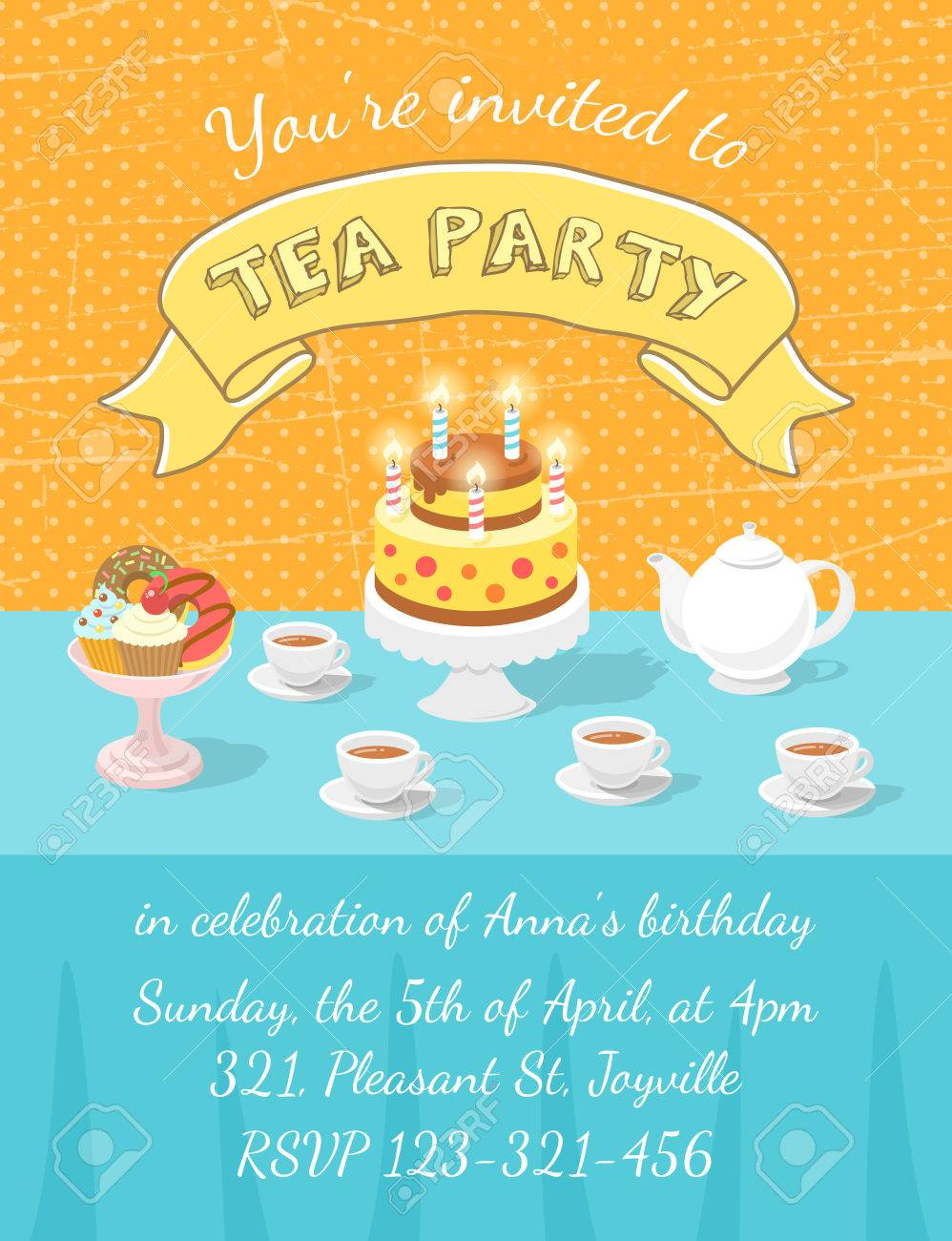 Modern flat vector tea party invitation card with tea cups teapot modern flat vector tea party invitation card with tea cups teapot birthday cake with stopboris Images