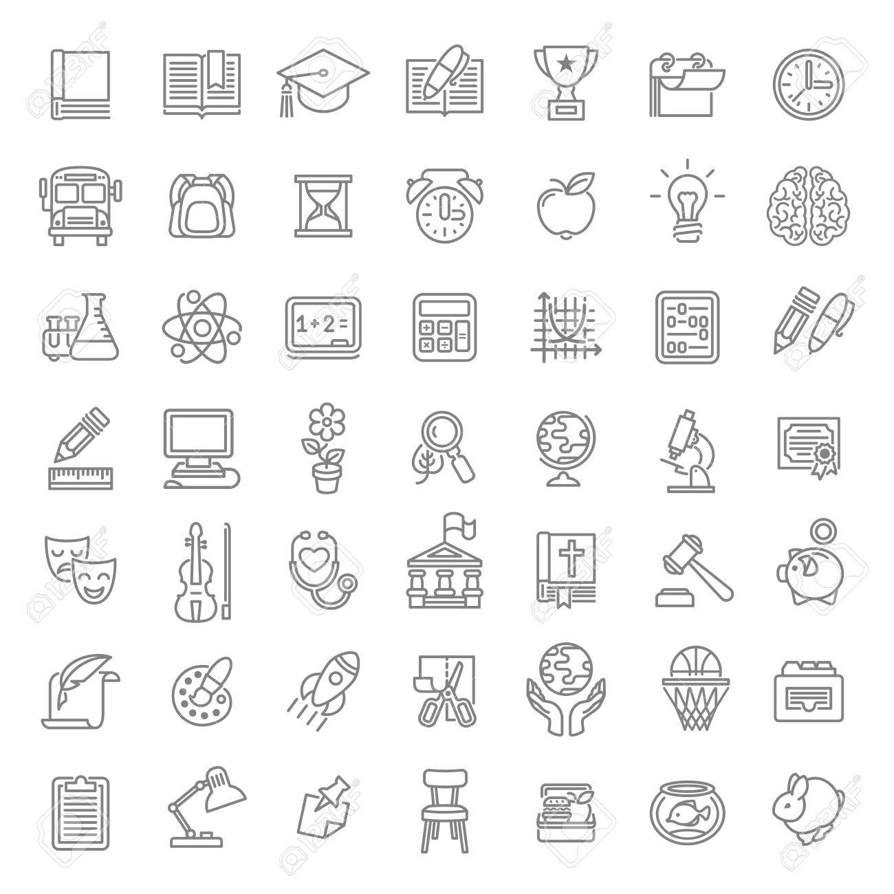 set of modern flat line art vector icons of school subjects  set of modern flat line art vector icons of school subjects activities education and