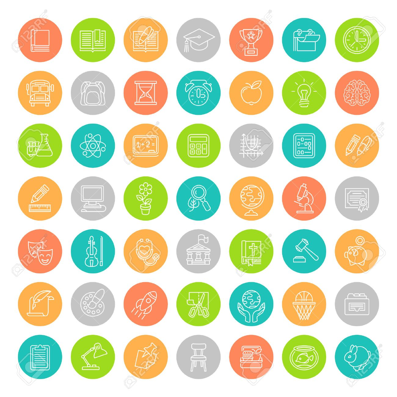 set of modern flat line colorful round vector icons of school set of modern flat line colorful round vector icons of school subjects activities education