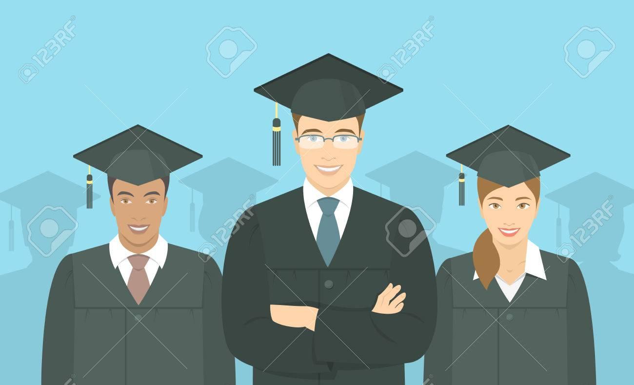 7c7c28247 Foto de archivo - Vector plana horizontal ilustración moderna de un grupo  de jóvenes multirraciales graduarse de licenciatura