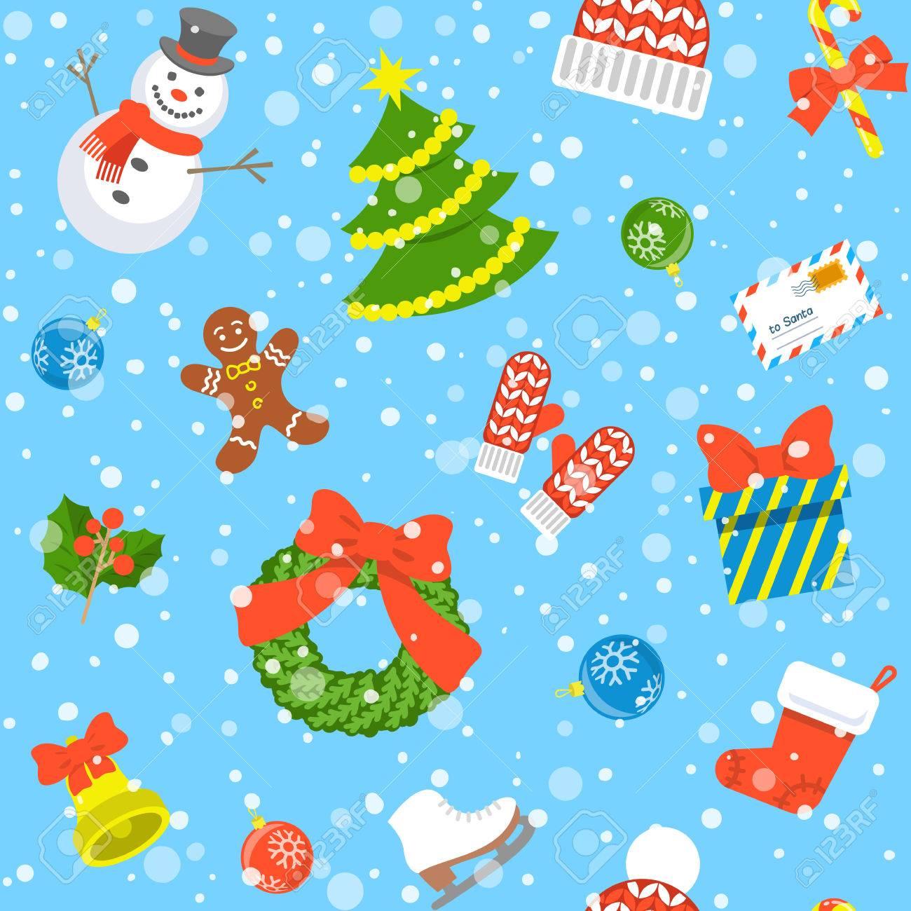 Christmas symbols holiday flat seamless background pattern with christmas symbols holiday flat seamless background pattern with scattered icons of family celebration elements winter buycottarizona Image collections
