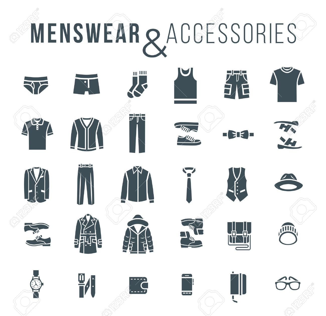 e55bdca2407 Men fashion clothing and accessories flat outline vector icons silhouettes  objects of male outfit clothes jpg
