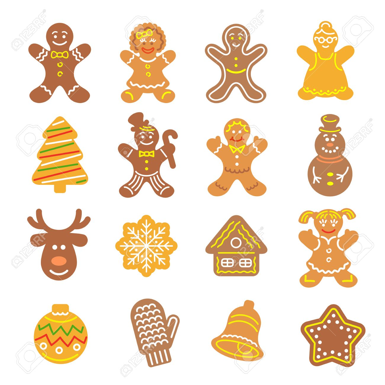 Set Of Flat Vector Icons Of Different Christmas Cookies. Gingerbread ...