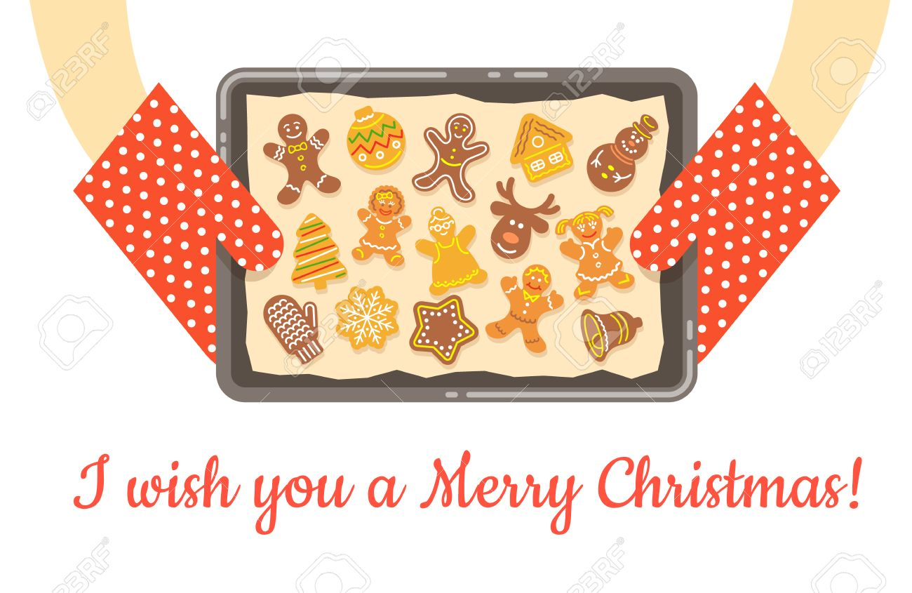 Weihnachten Lebkuchen, Nur Gebacken Und Stieg Aus Dem Ofen. Vektor ...