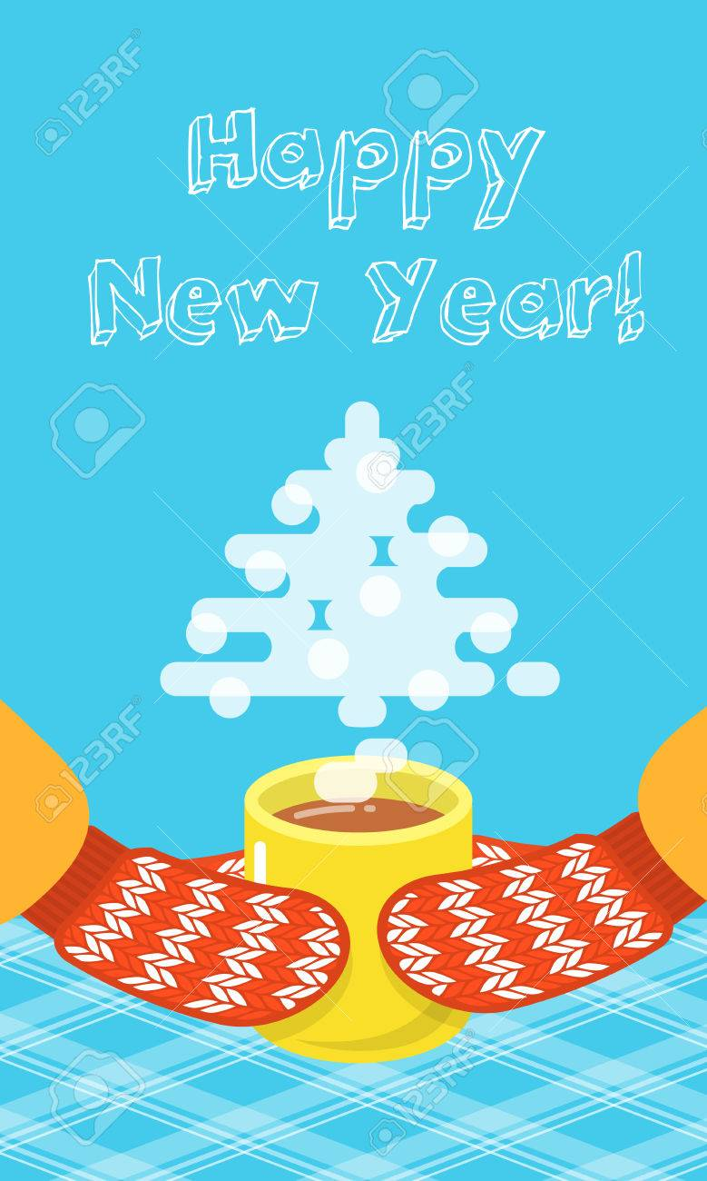 Happy new year greeting card with a tea cup and knitted mittens happy new year greeting card with a tea cup and knitted mittens flat vector illustration m4hsunfo