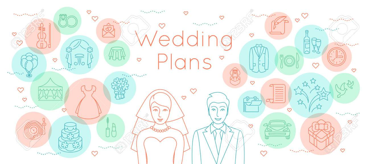 Wedding Plans Thin Line Flat Vector Background. Modern Horizontal