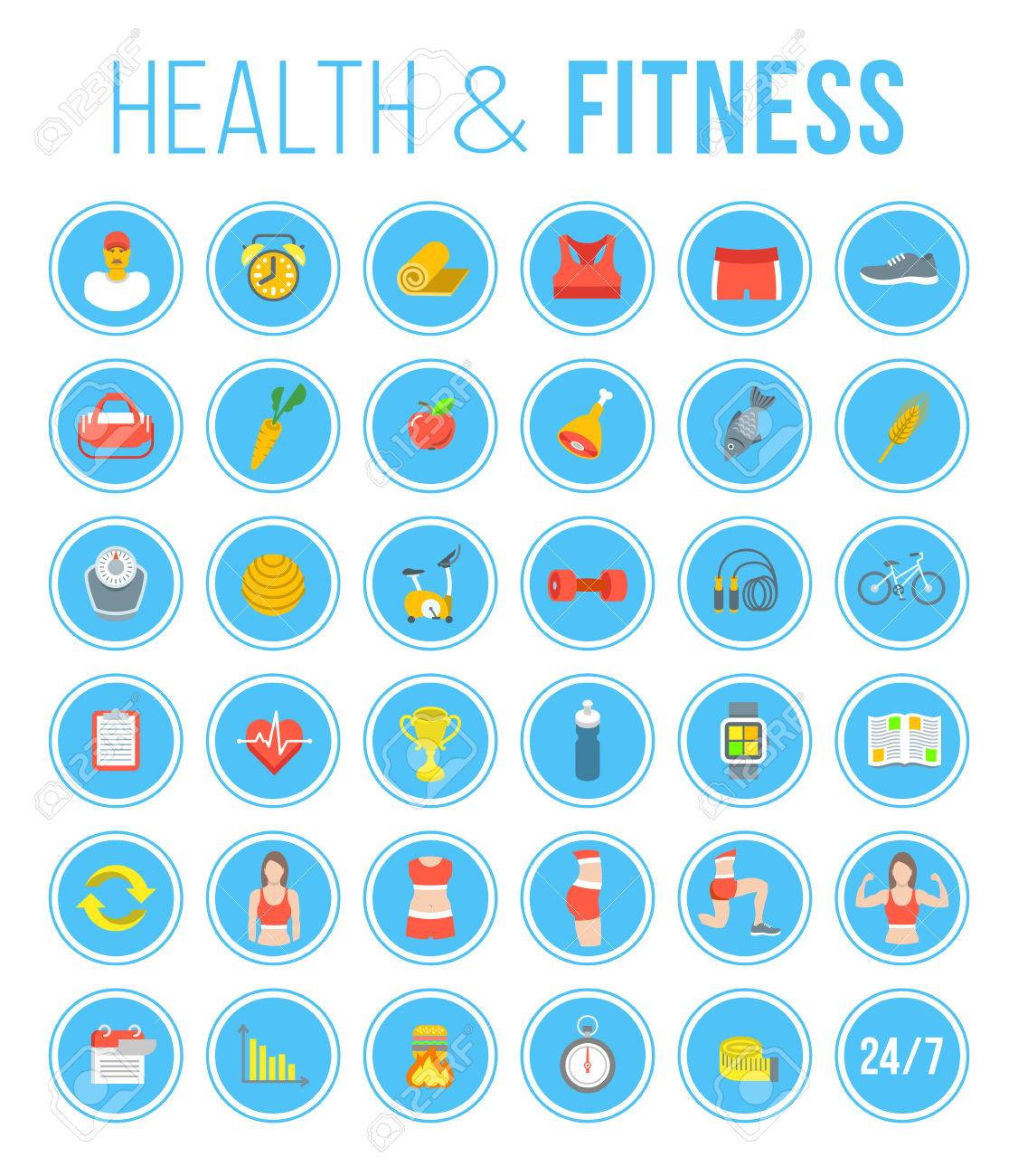 Fitness gym and healthy lifestyle flat vector icons. Diet nutrition, shaping workout, fitness gear, personal trainer, sport clothes infographic elements. Exercises for different muscles of female body Stock Vector - 51931652